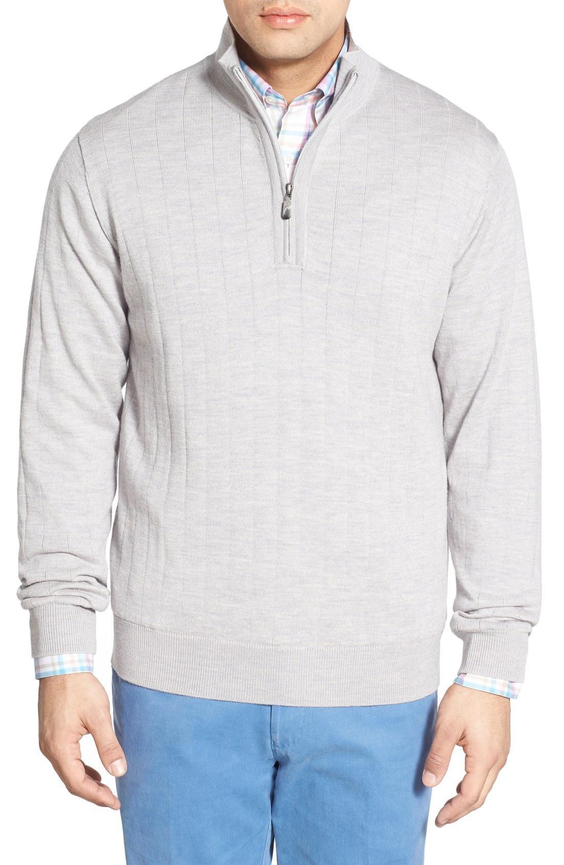 e5e83fe0dd32c4 Bobby Jones Windproof Merino Wool Quarter Zip Sweater In Heather ...
