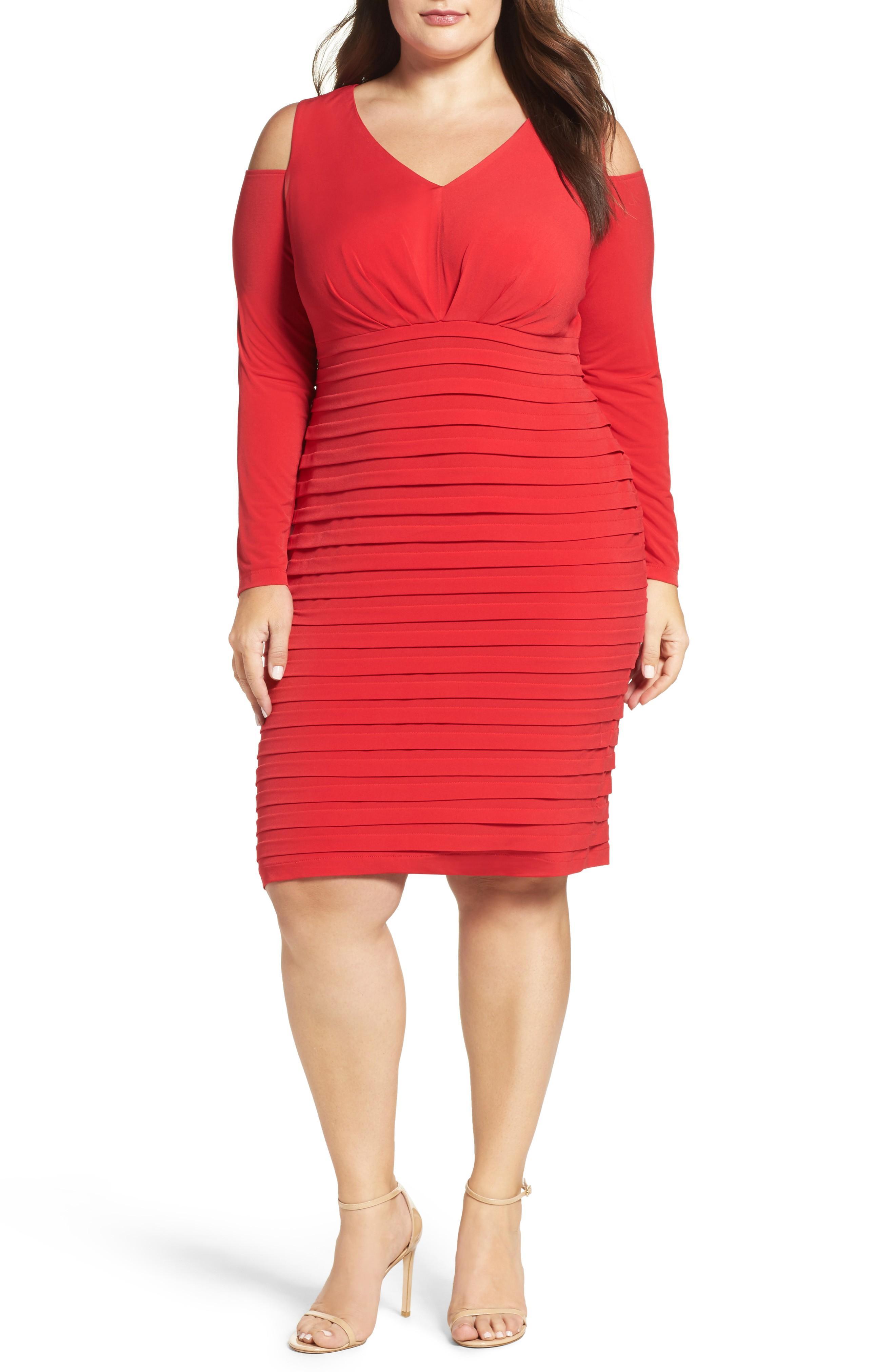 London Times Cold Shoulder Shutter Pleat Jersey Sheath Dress In Red