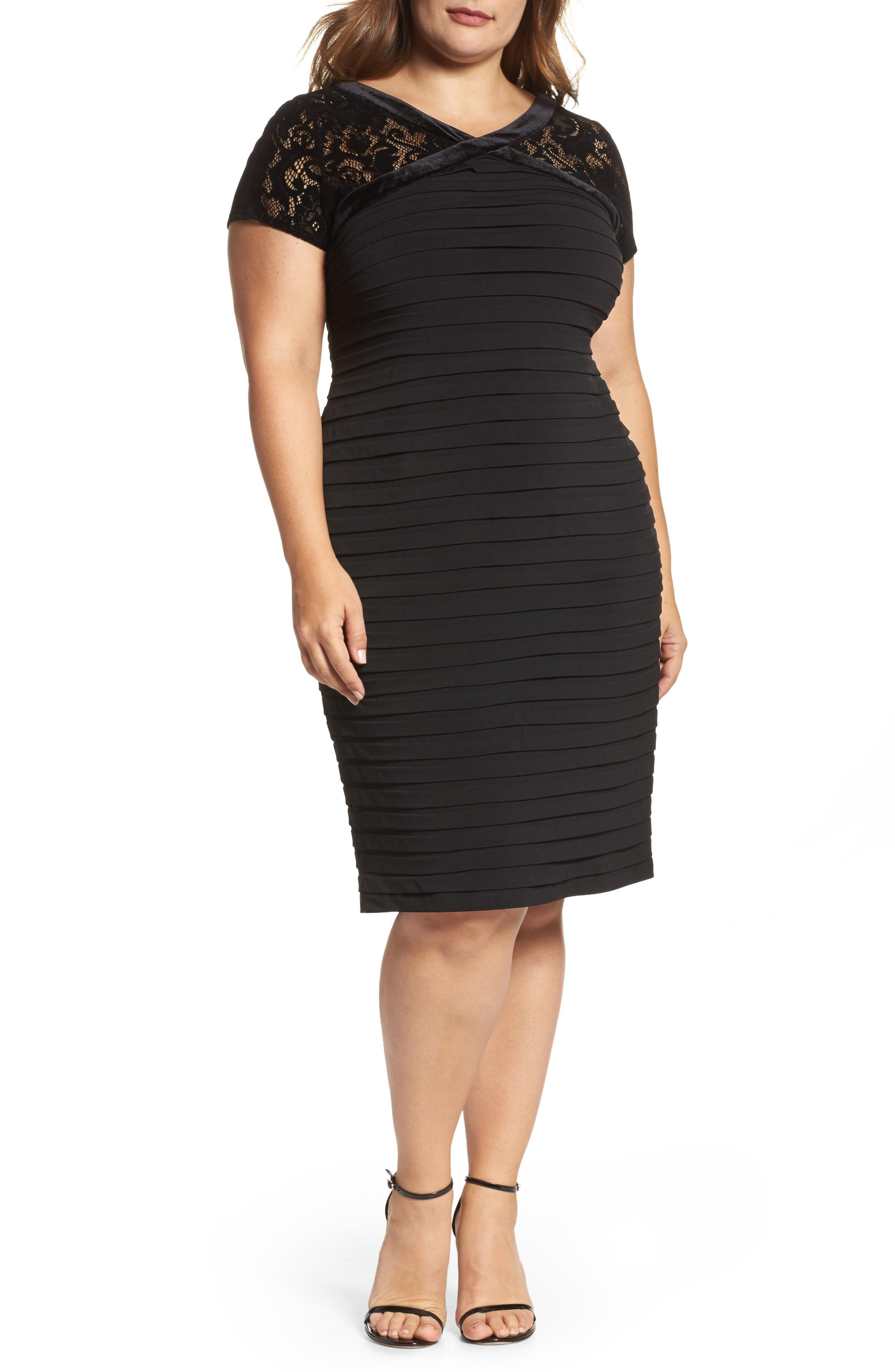 London Times Womens Plus-Size Pintuck Jersey Sheath Dress