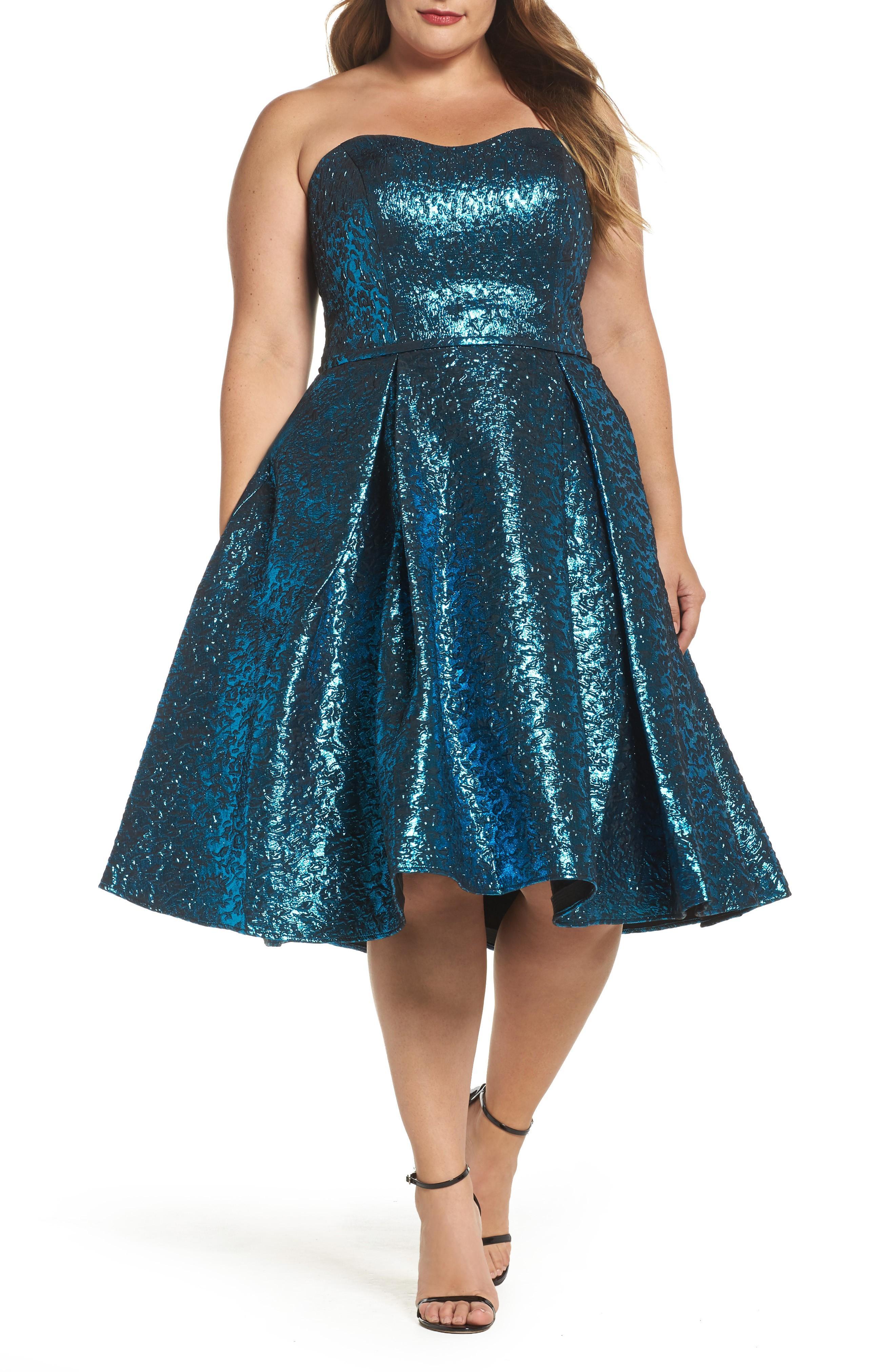 40156017b Mac Duggal Metallic Fit & Flare Dress In Turquoise | ModeSens
