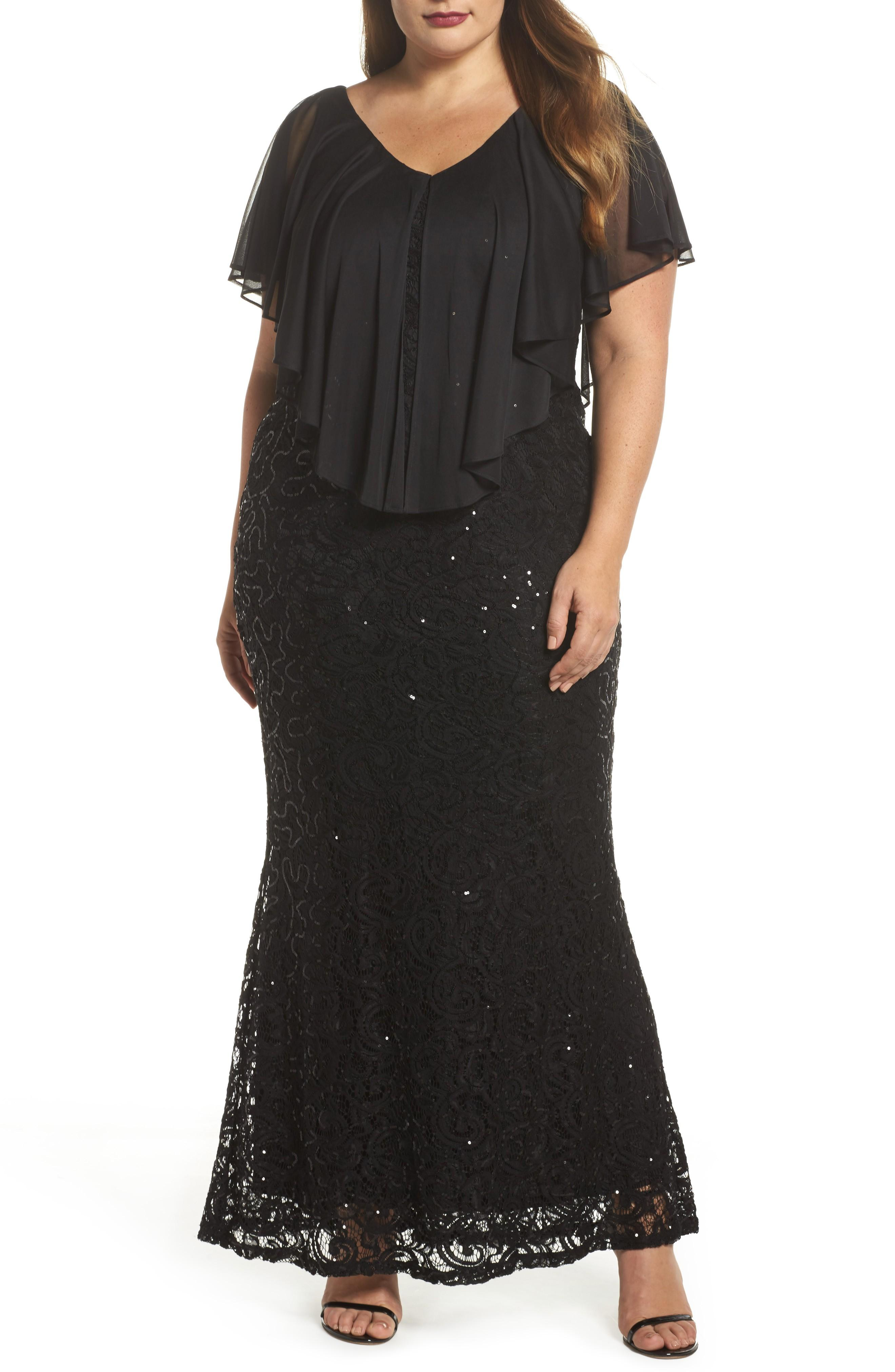 87b7cc3fa86b Marina Capelet Sequin Lace A-Line Gown In Black | ModeSens