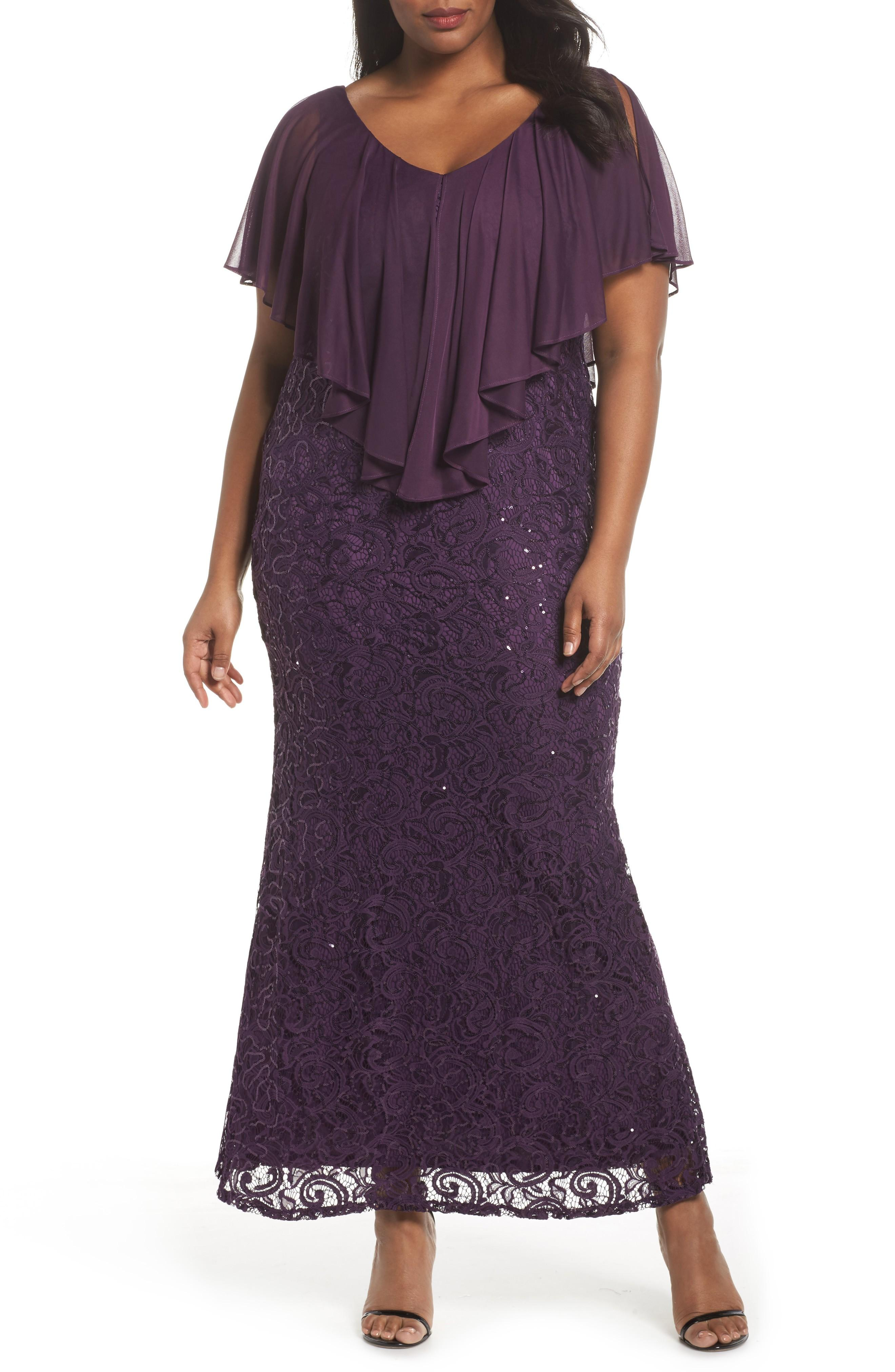 2cfab62e03f0 Marina Capelet Sequin Lace A-Line Gown In Eggplant | ModeSens