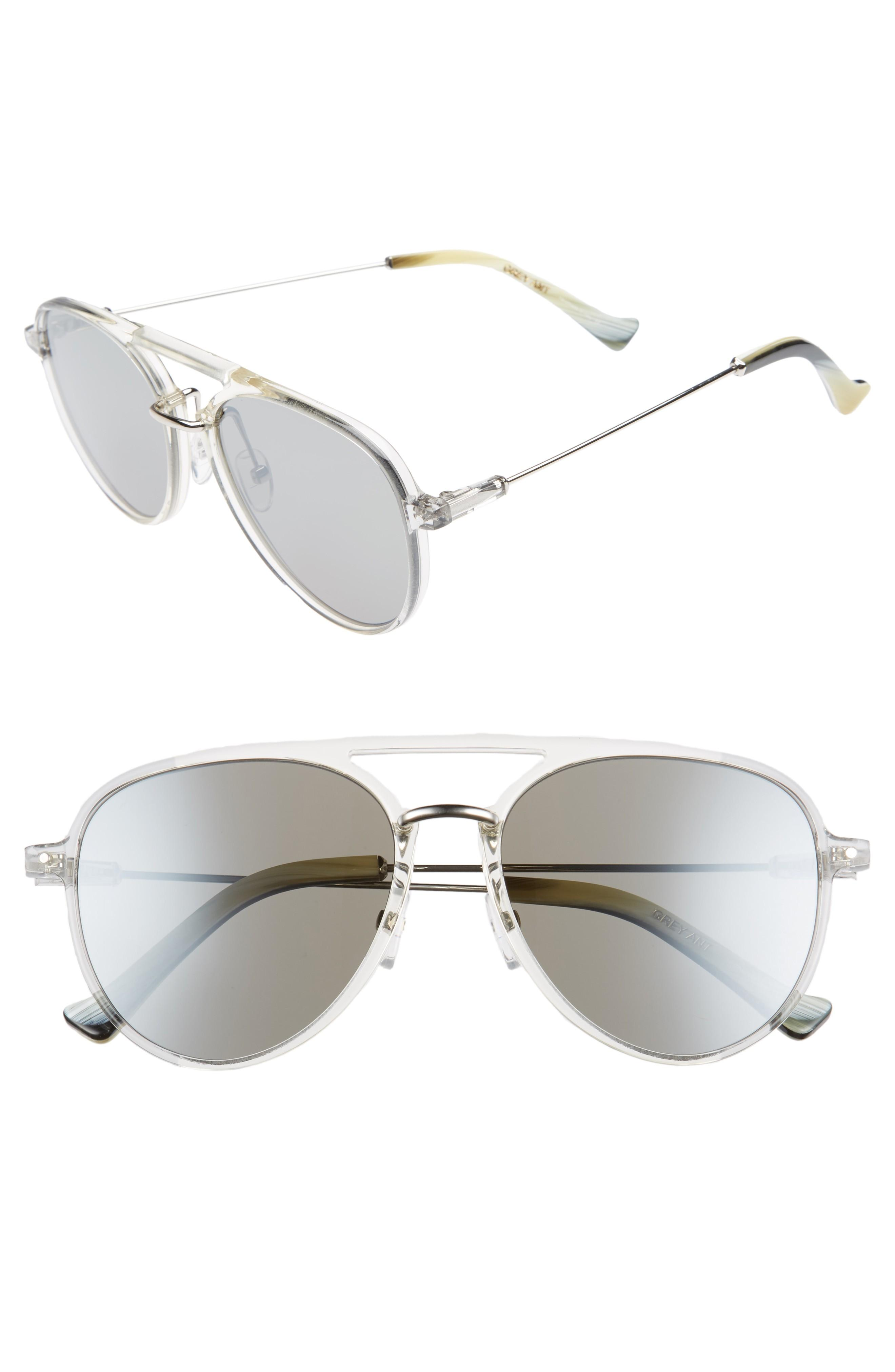 Grey Ant Praph 57Mm Sunglasses - Silver Lens/ Clear Hardware