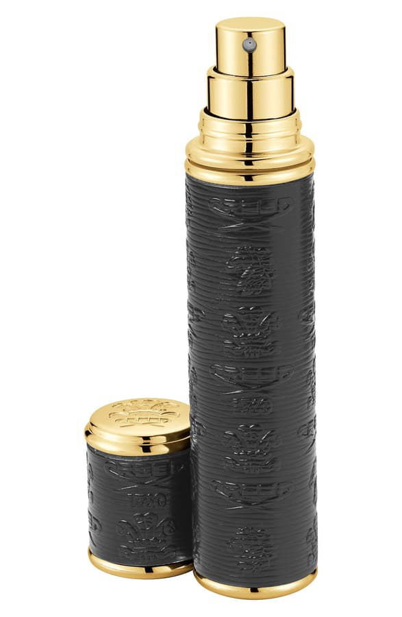 Creed Pocket Leather & Gold-tone Bottle Atomizer In Black
