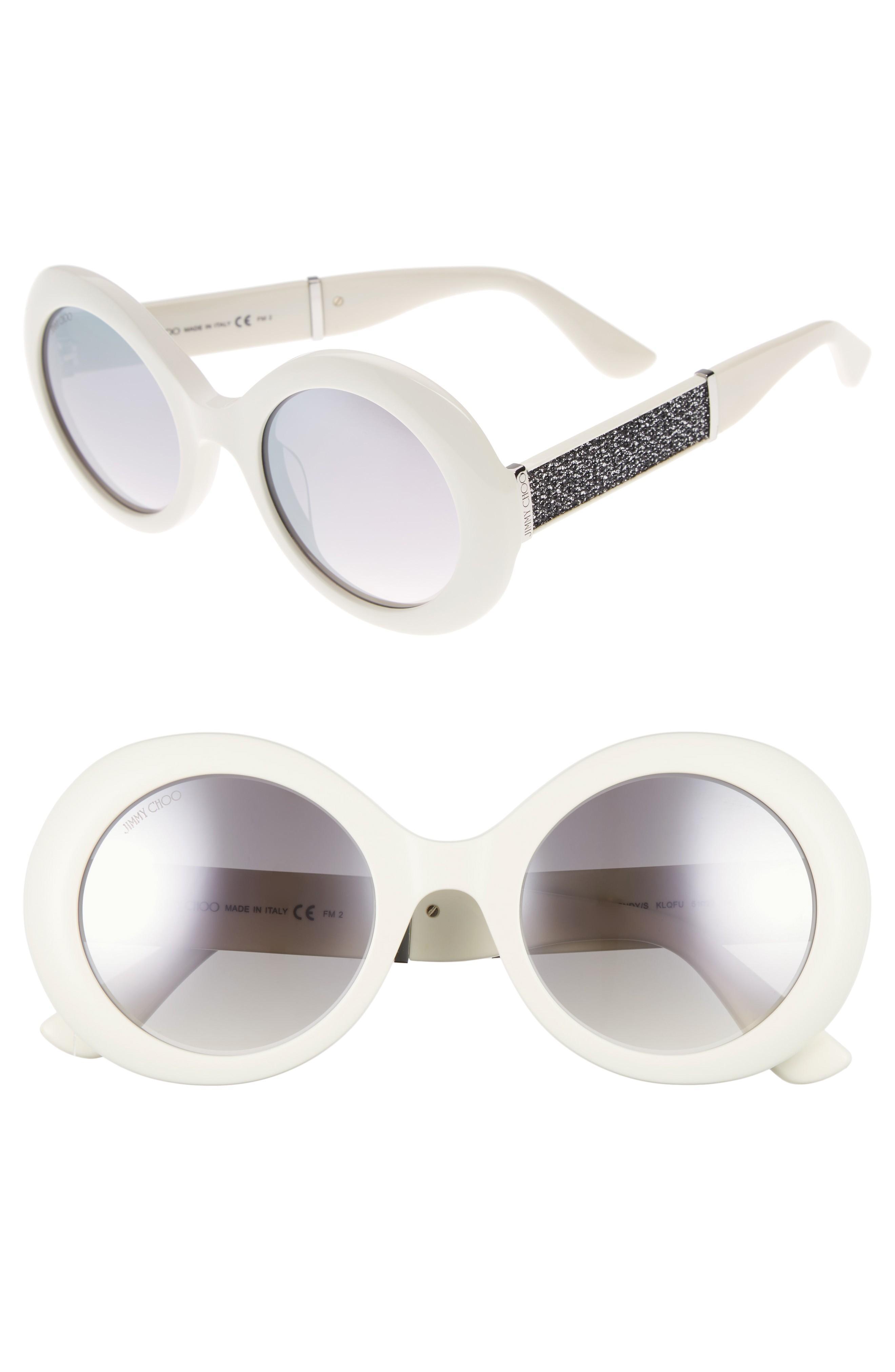 1aa451849c44 Jimmy Choo Wendy 51Mm Round Sunglasses - White/ Glitter/ White ...