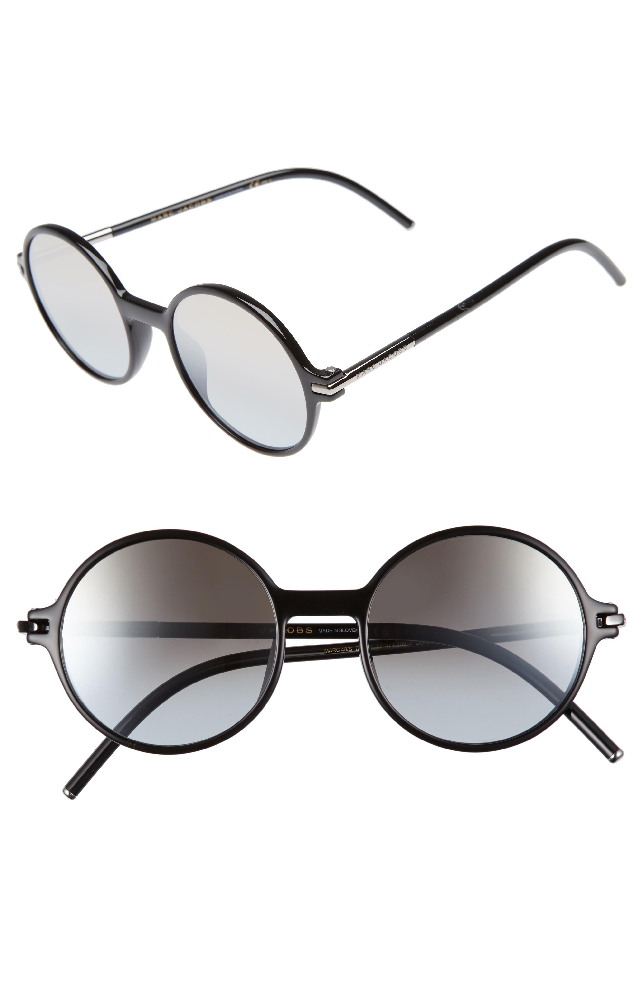 3713a662a13e Marc Jacobs 52Mm Round Sunglasses - Black/ Brown/ Gold Mirror | ModeSens