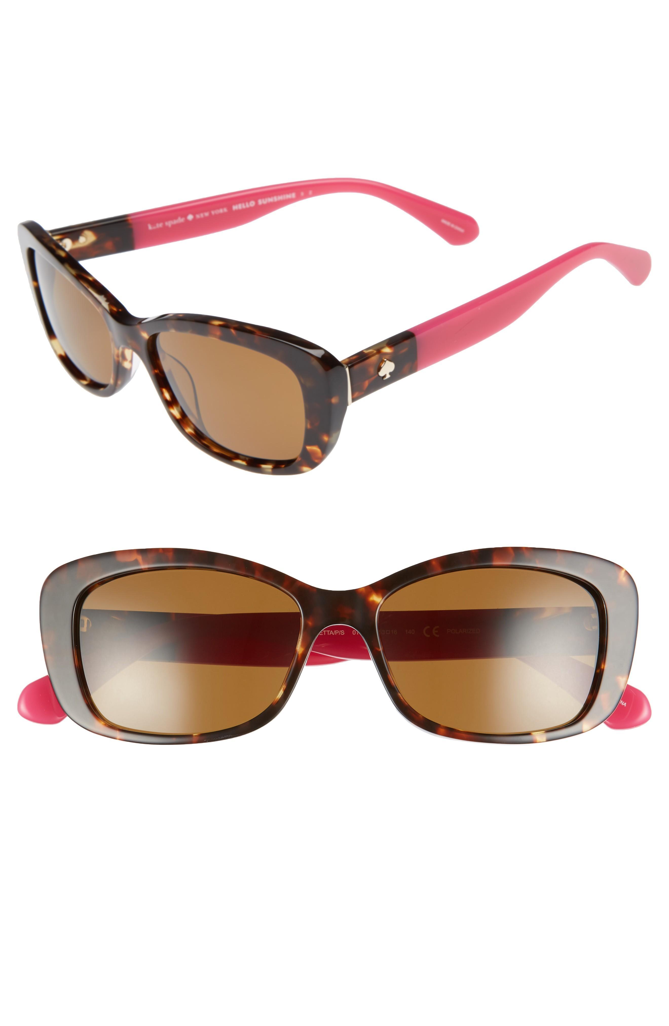 29ecd1610f85 Kate Spade Claretta 53Mm Polarized Sunglasses - Havana/ Pink   ModeSens