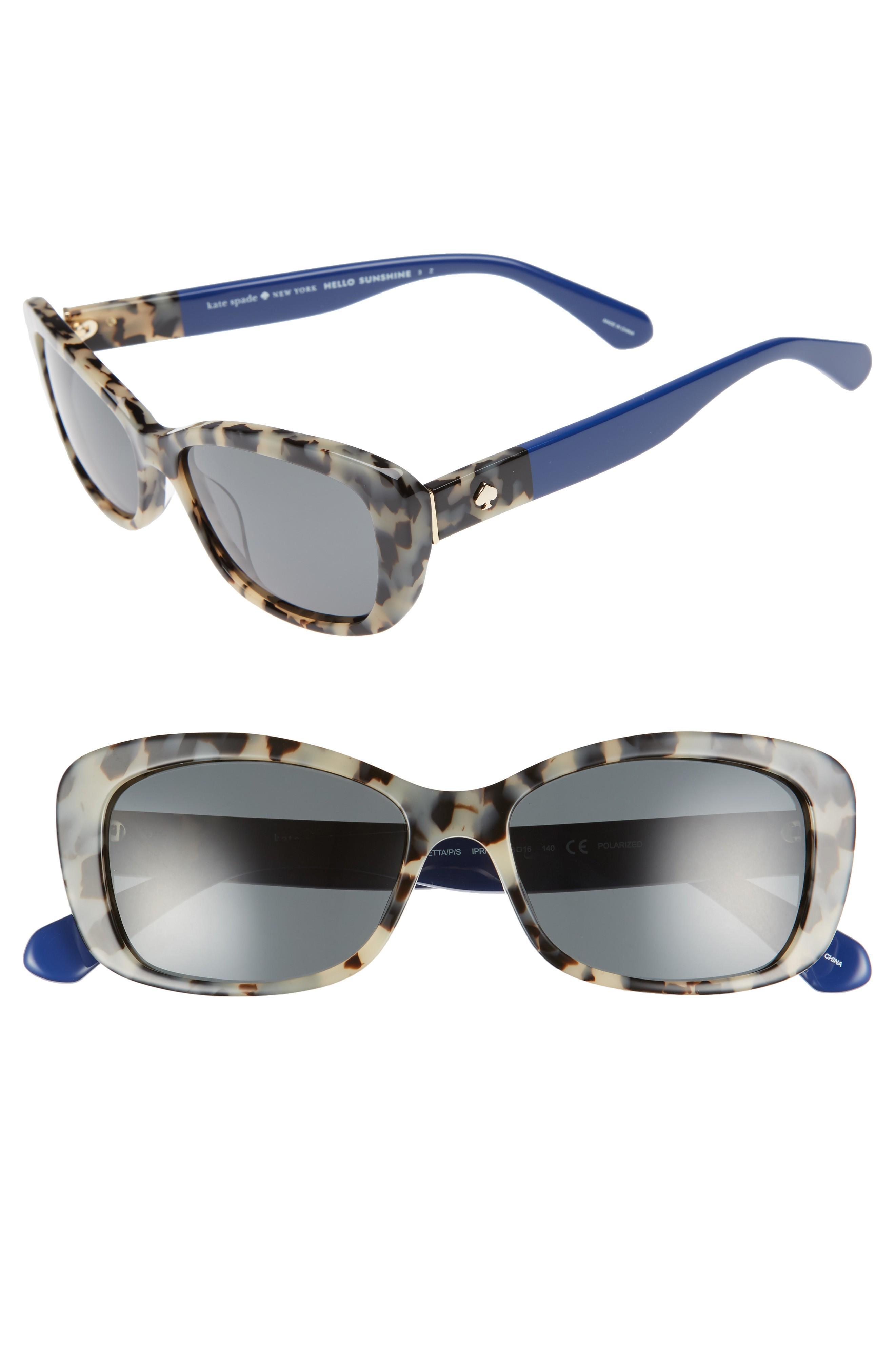 353e45b6546ca Kate Spade Claretta 53Mm Polarized Sunglasses - Havana  Blue