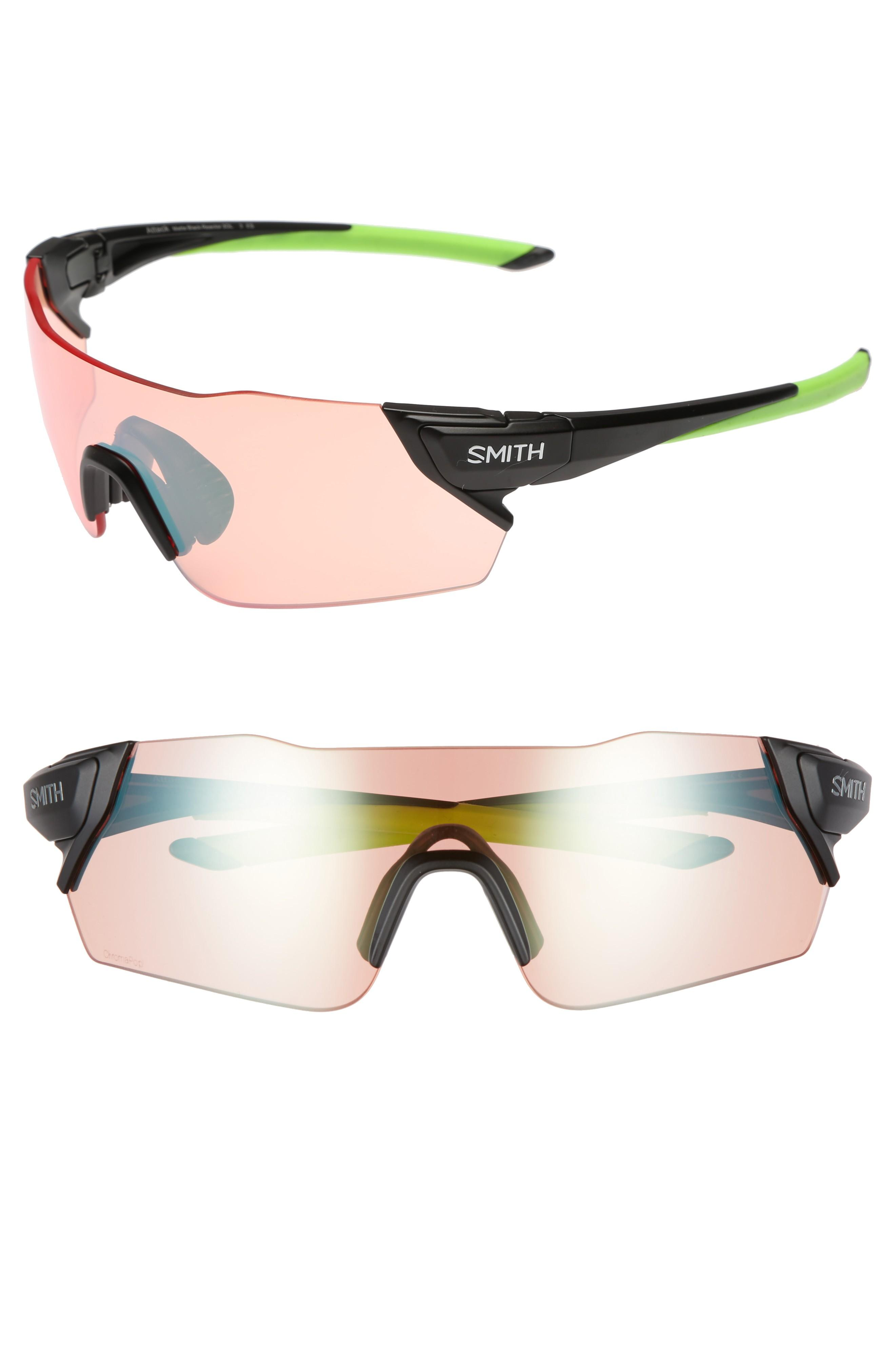 db5ec0214b Smith Attack 125Mm Chromapop(Tm) Polarized Shield Sunglasses - Matte Black  Reactor  Green
