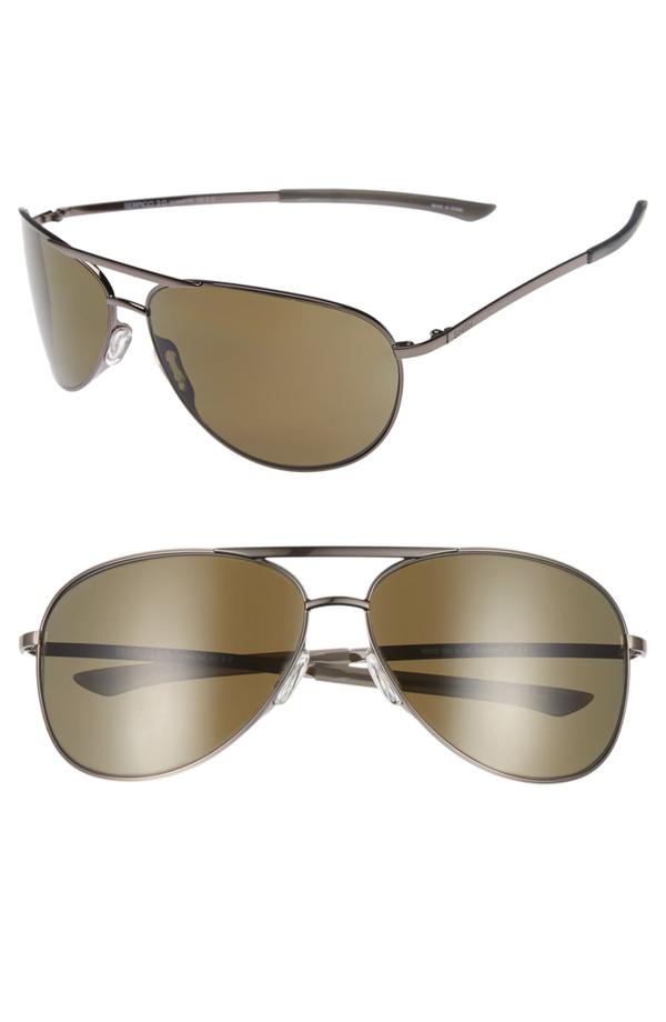Smith Serpico Slim 2.0 65mm Chromapop(tm) Polarized Aviator Sunglasses In Gunmetal/ Grey Polar