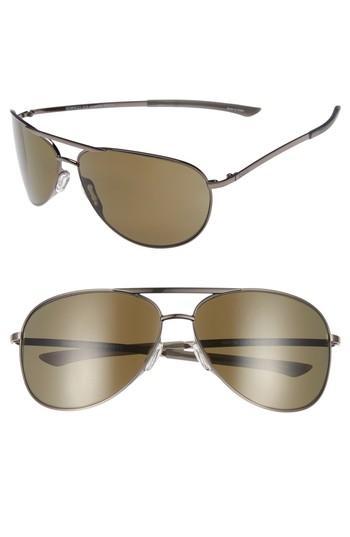 Smith Serpico Slim 2.0 65mm Chromapop(tm) Polarized Aviator Sunglasses In Matte Gold/ Grey Polar