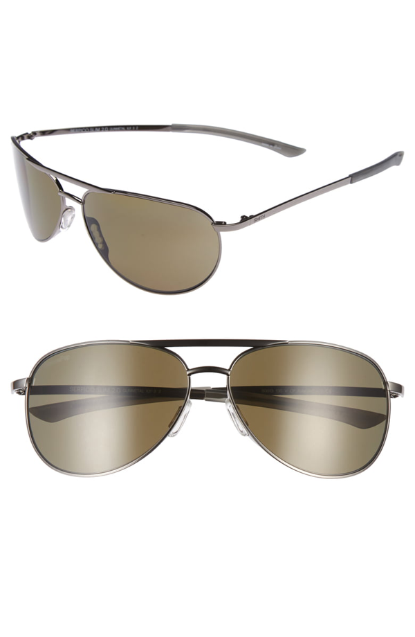 Smith Serpico Slim 2.0 60mm Chromapop Polarized Aviator Sunglasses In Gunmetal/ Grey Polar