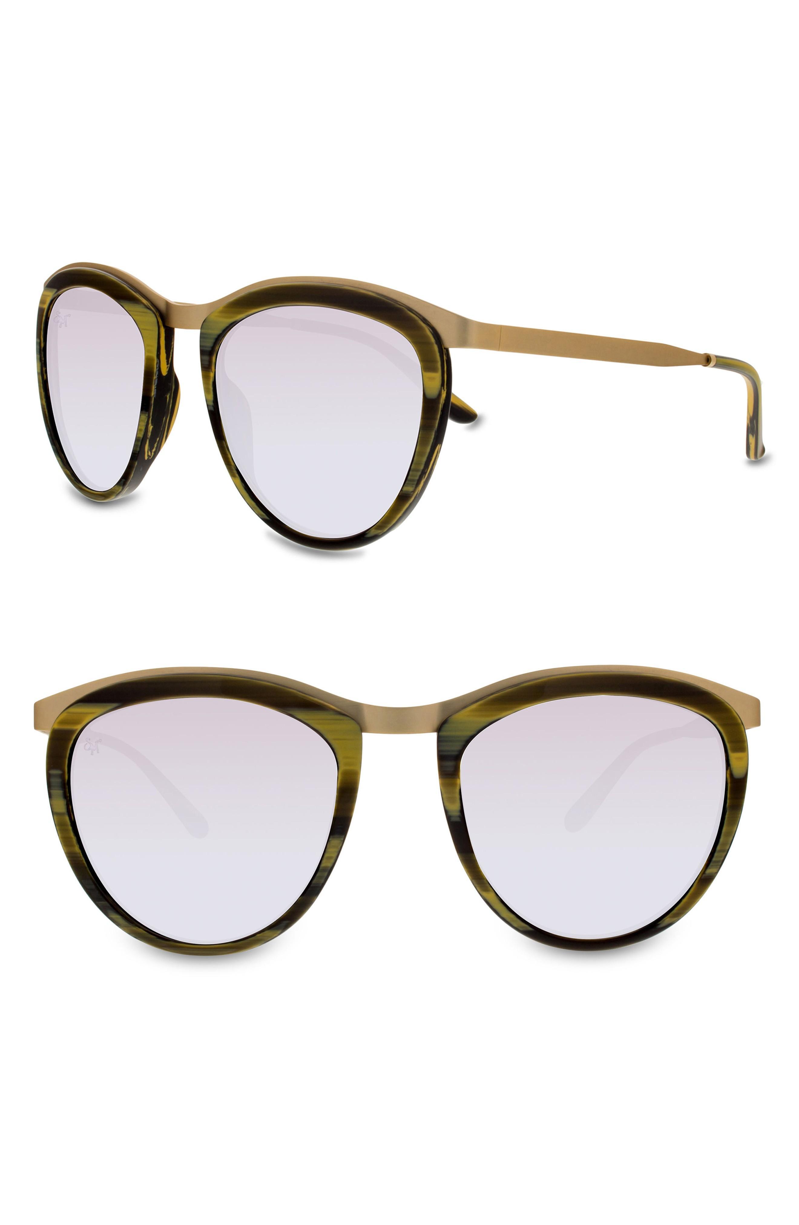 fe36130d09 Smoke X Mirrors Comic Strip 51Mm Round Sunglasses - Dark Horn  Gold  Silver  Mirror