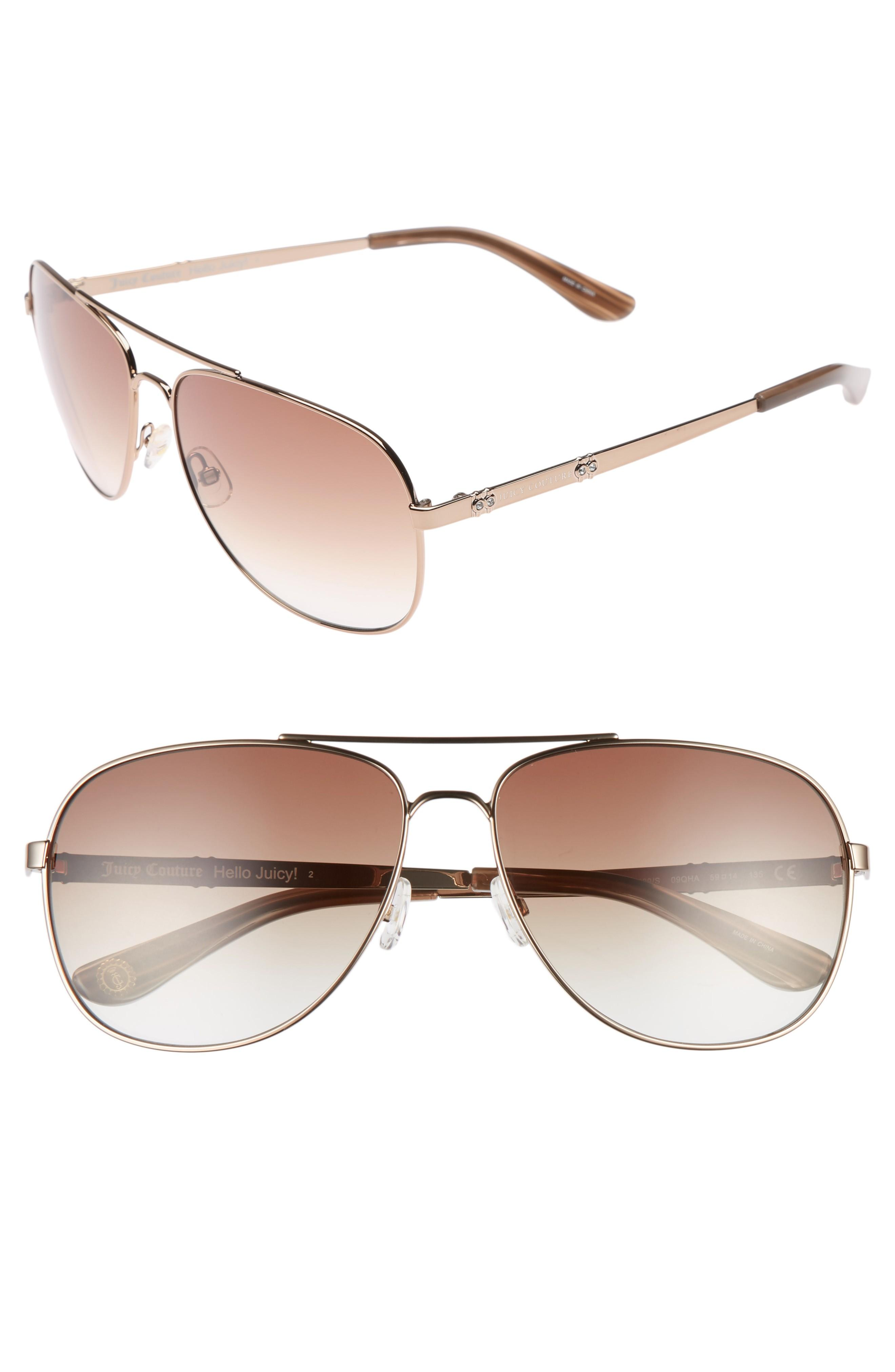 20ae3299c64d Juicy Couture Black Label 59Mm Aviator Sunglasses - Brown   ModeSens