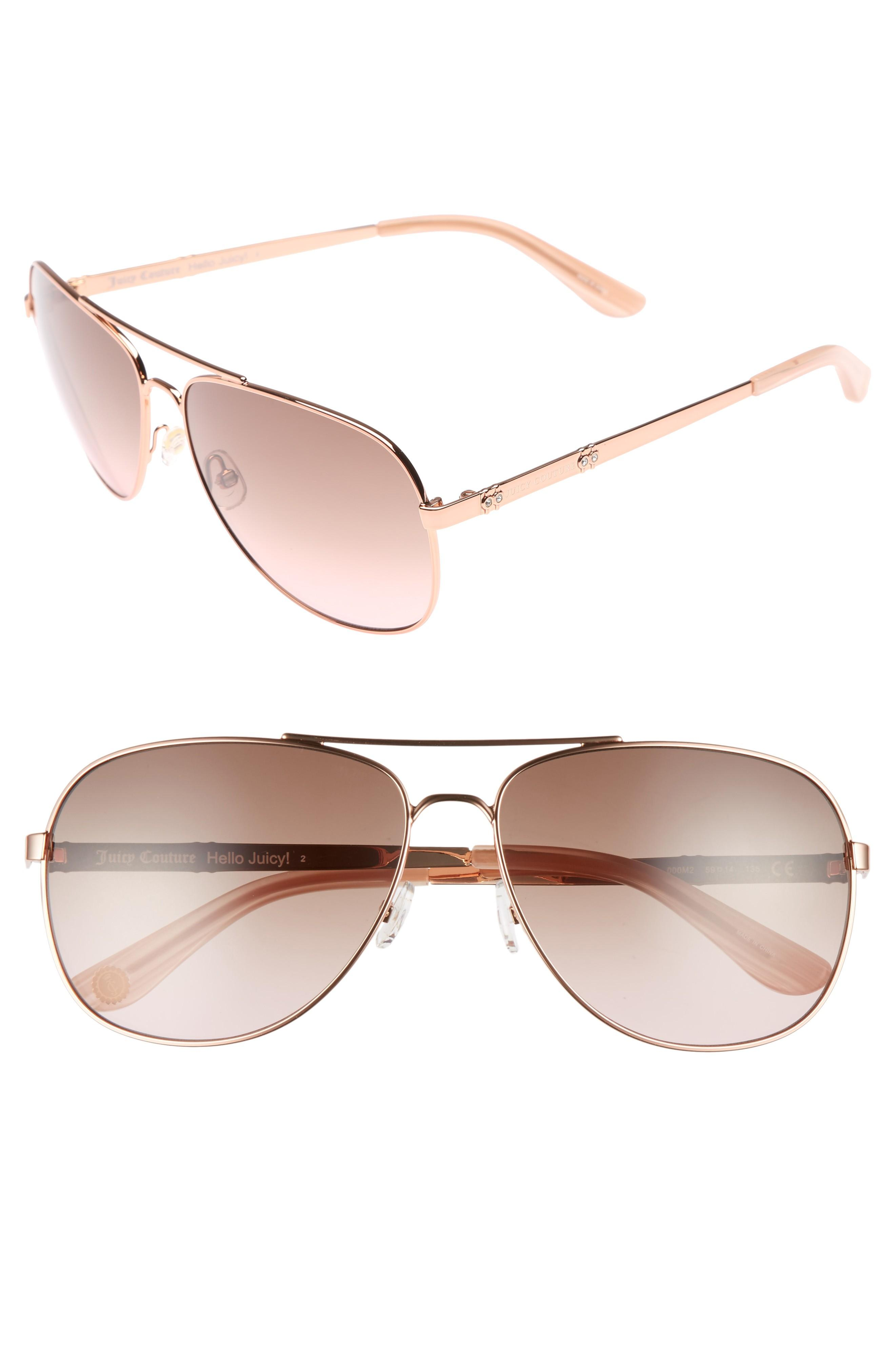 412df1adb4 Juicy Couture Black Label 59Mm Aviator Sunglasses - Rose Gold