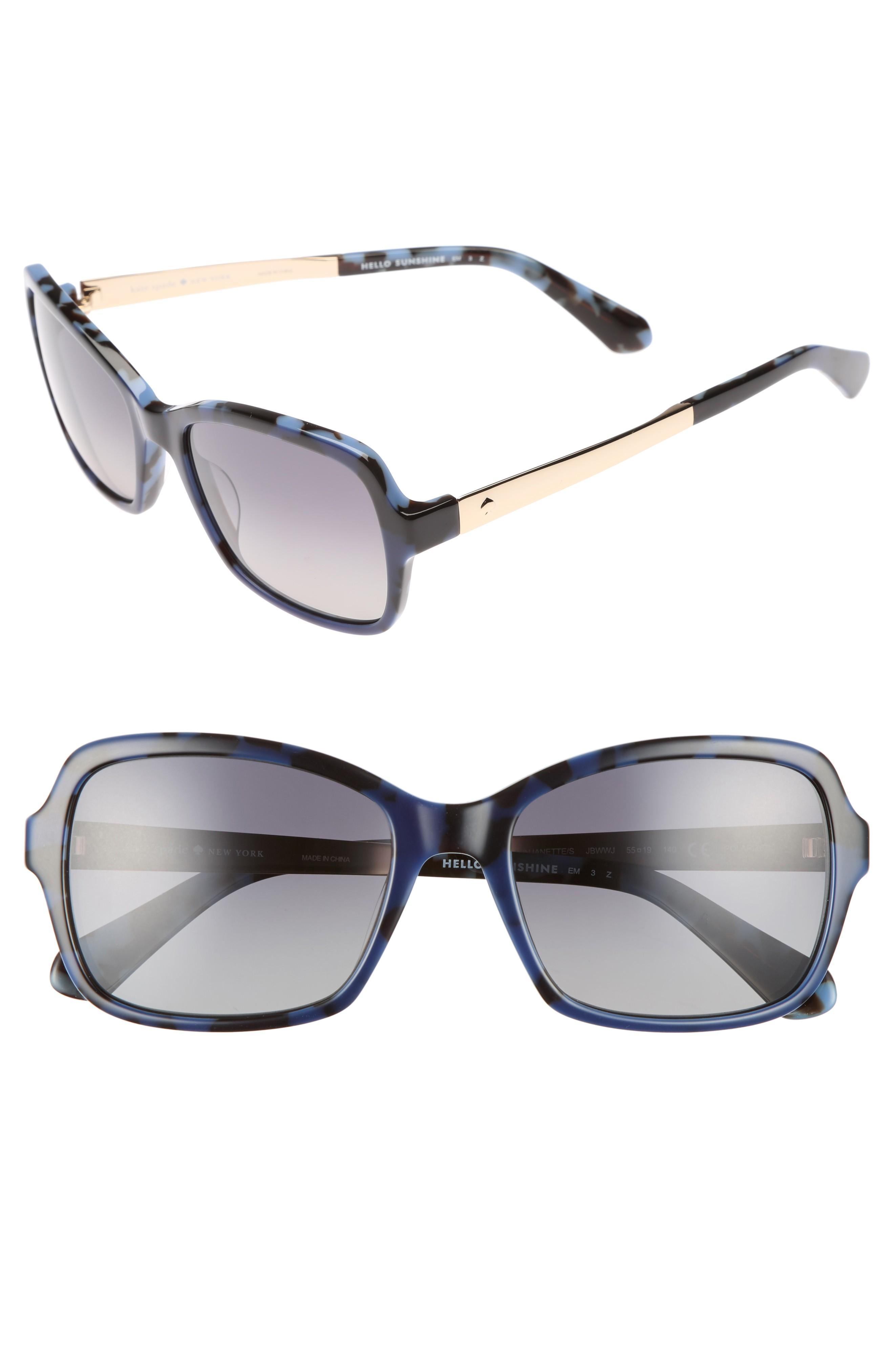 af7ea193f8 Kate Spade Annjanette 55Mm Polarized Sunglasses - Blue Havana