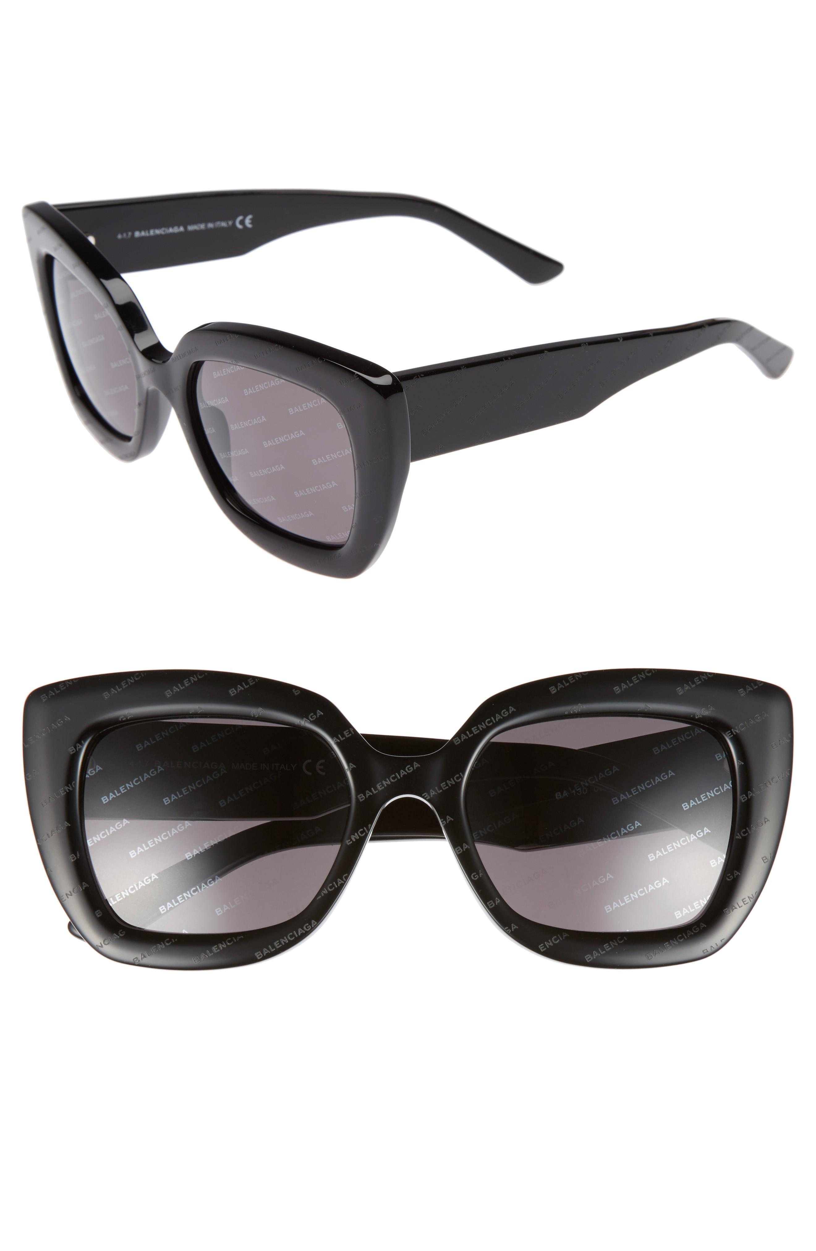 210d2e951a1e Balenciaga 52Mm Cat Eye Sunglasses - Black With Logomania/ Smoke ...