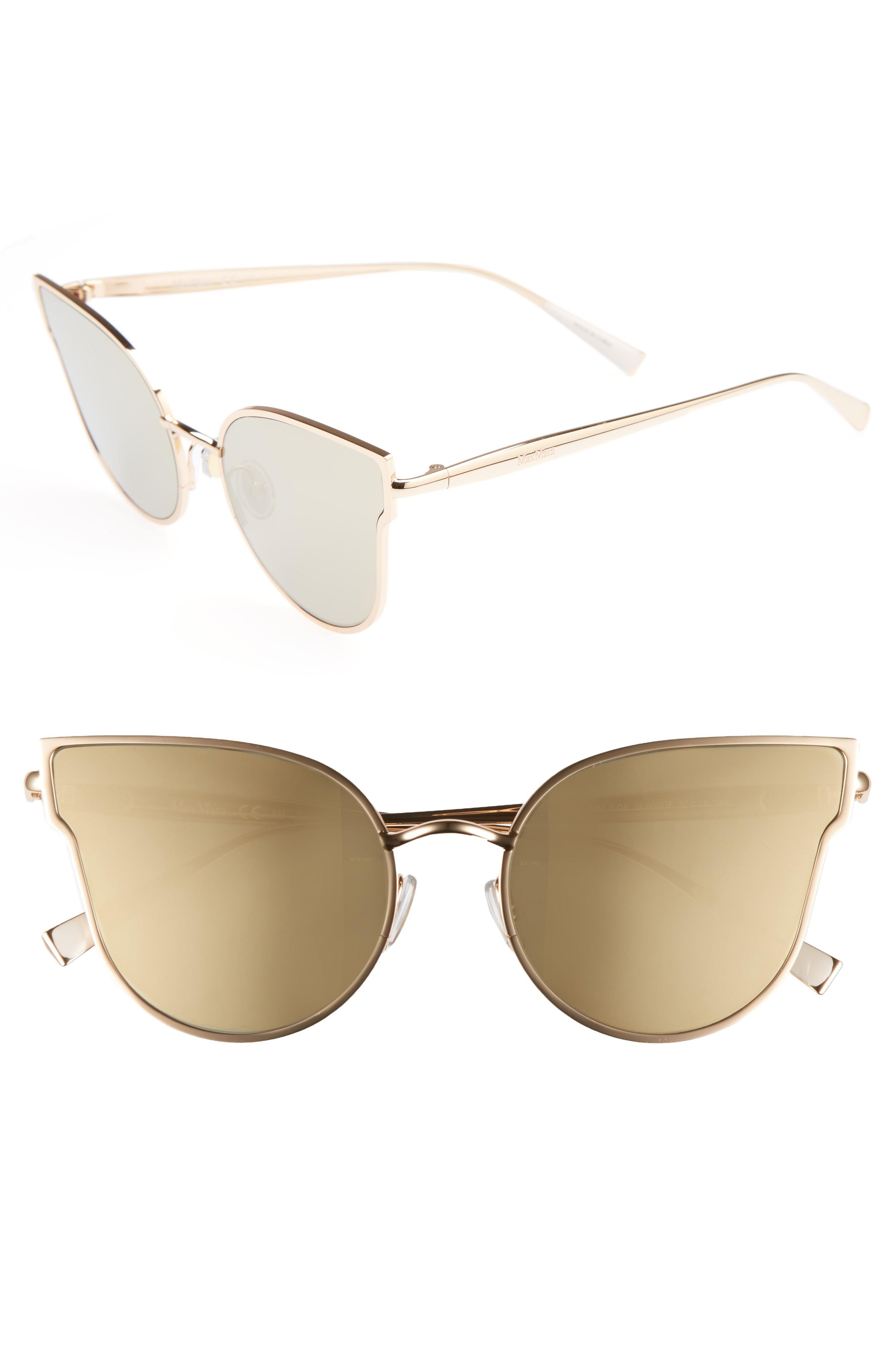 d1ca6e207432 Max Mara Ilde Iii 57Mm Mirrored Cat Eye Sunglasses - Rose Gold ...