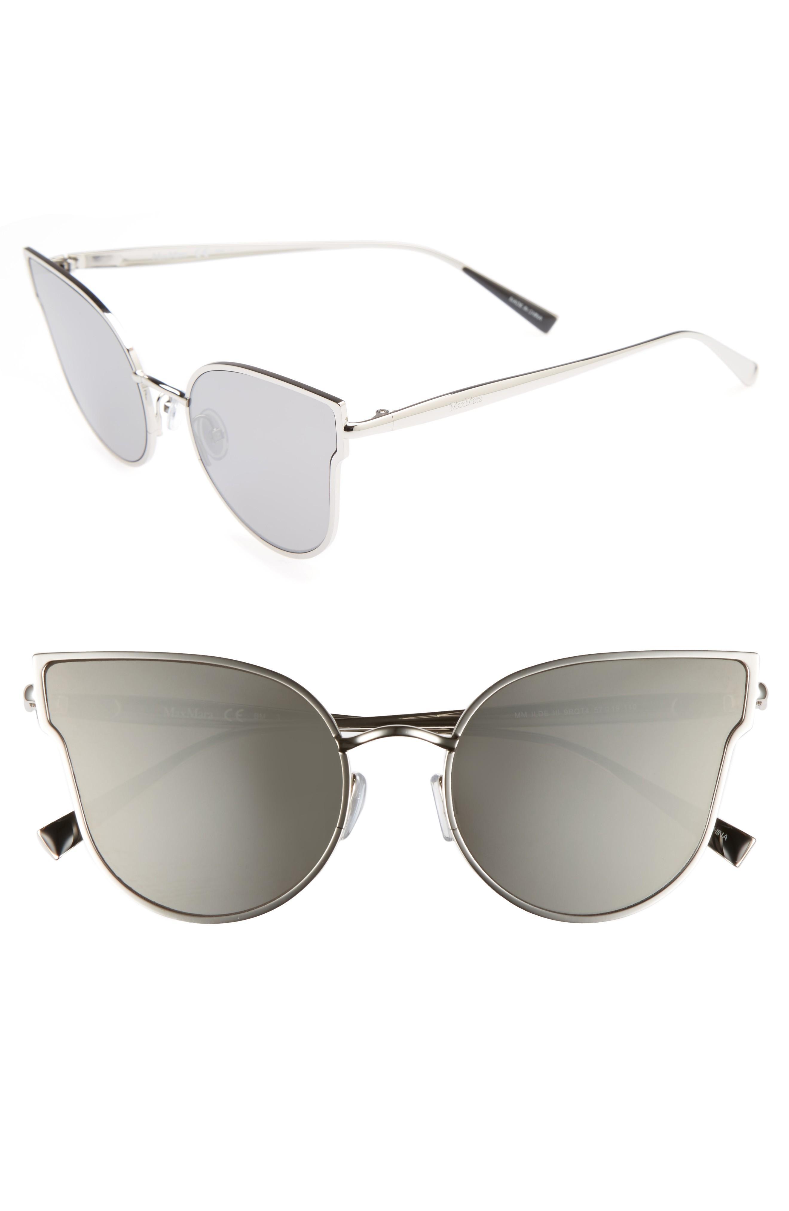 b9acbf2a751 Max Mara Ilde Iii 57Mm Mirrored Cat Eye Sunglasses - Smoke Silver ...