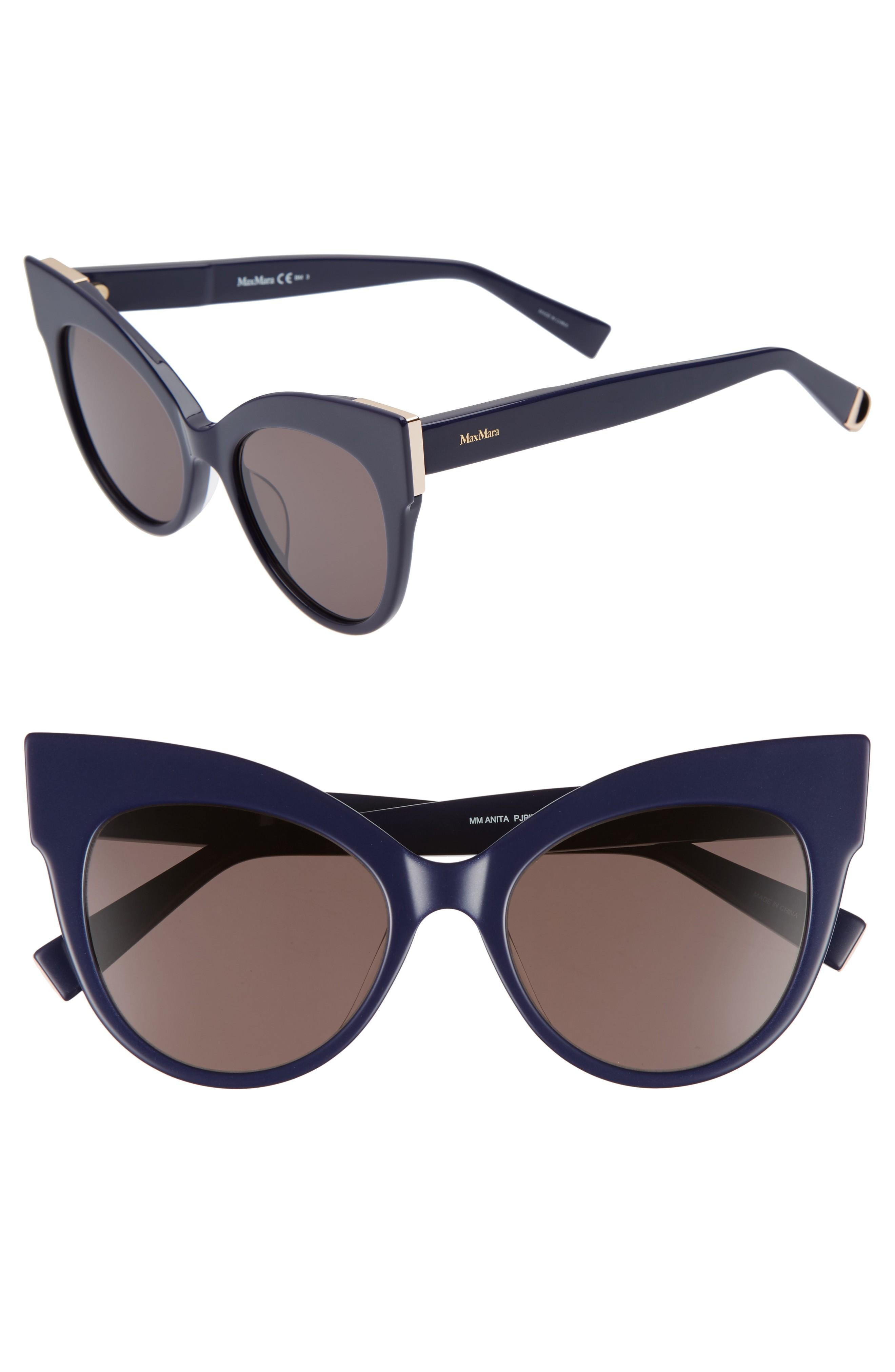 5276187ab6b Exaggerated angles accentuate the retro-inspired cat-eye silhouette of  statement-making shades. Style Name  Max Mara Anita 52Mm Cat Eye Sunglasses.