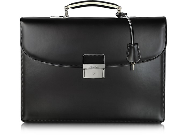 Pineider Optical Black And White Leather Briefcase