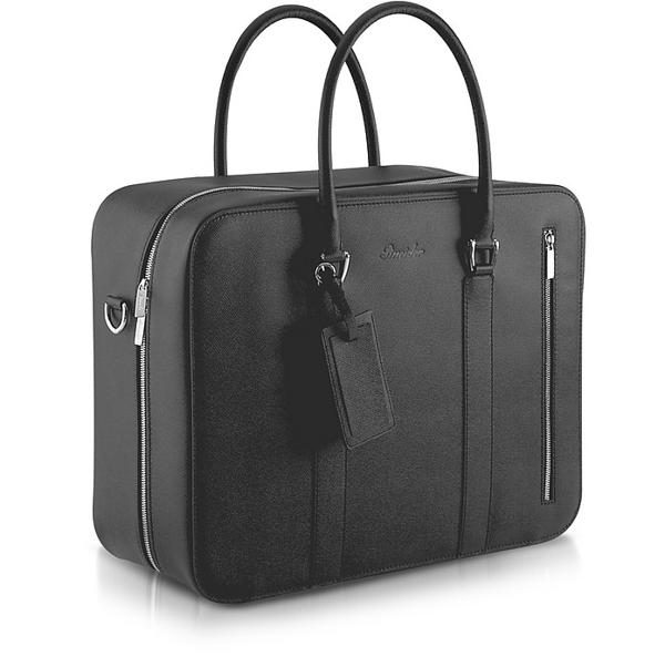 Pineider City Chic - Double Handle Calfskin Briefcase In Black