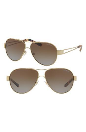 b21f6d179f4de Tory Burch 55Mm Polarized Aviator Sunglasses - Gold  Tortoise