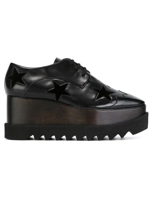 Stella Mccartney Elyse Stars Faux-leather Flatform Brogues In Black