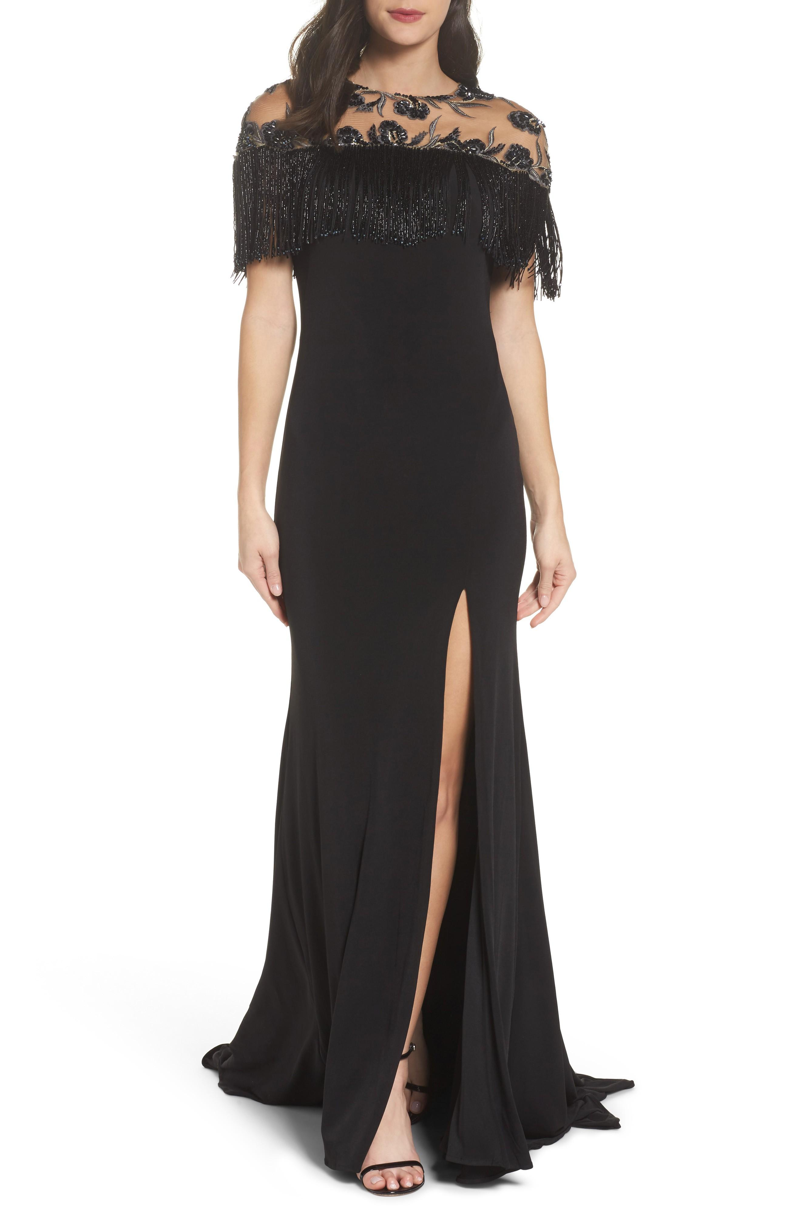 dce4b92c6d Mac Duggal Beaded Fringe Bodice Gown In Black | ModeSens