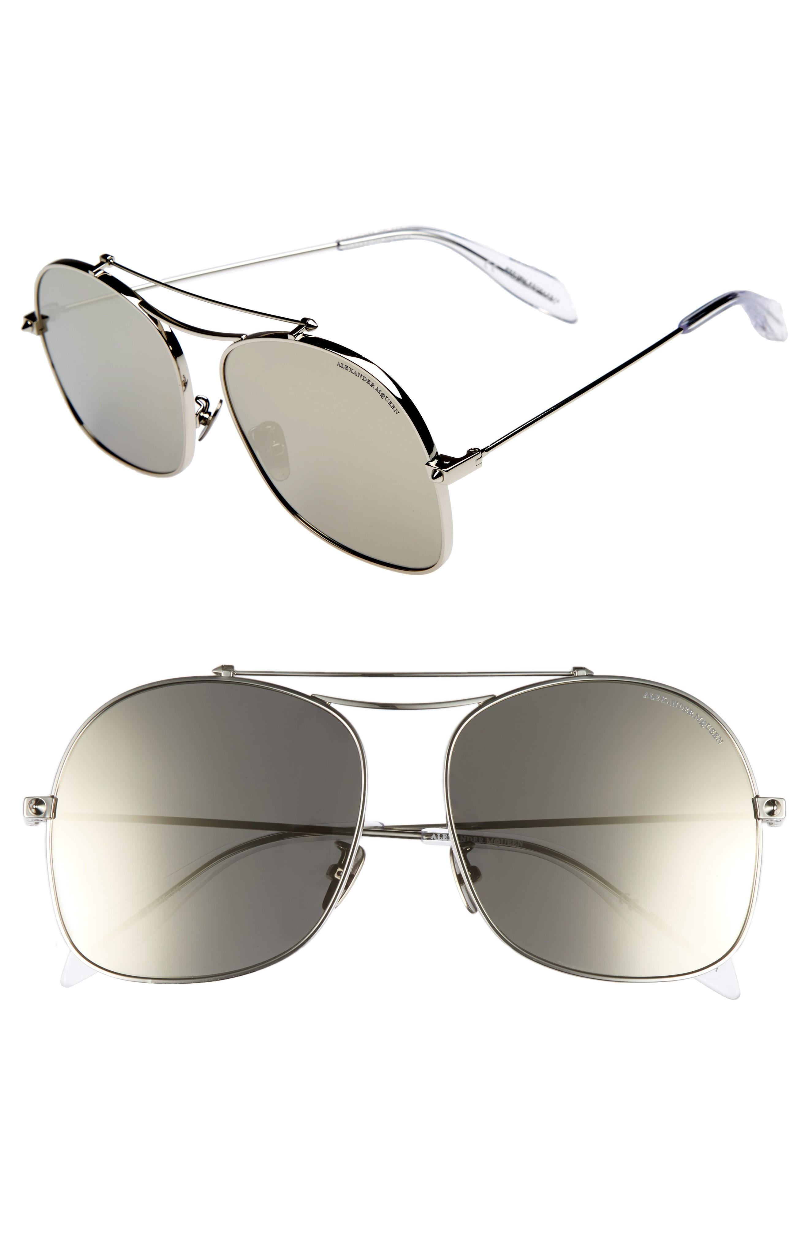 326e5f6a2081 Alexander Mcqueen 59Mm Aviator Sunglasses In Silver | ModeSens