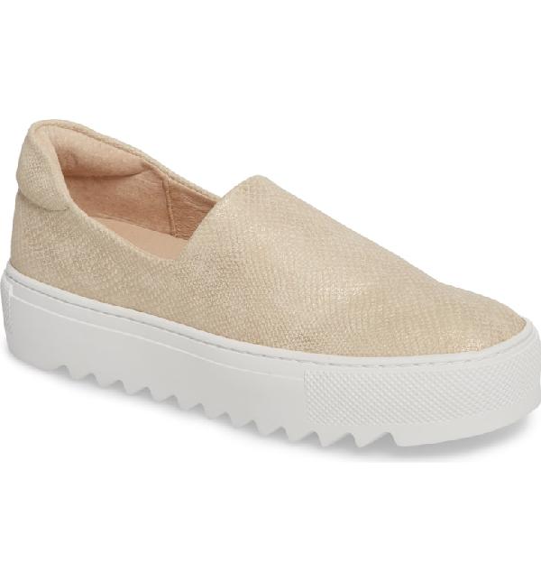 db603880dda Jslides Sage Platform Slip-On Sneaker In Light Gold Fabric