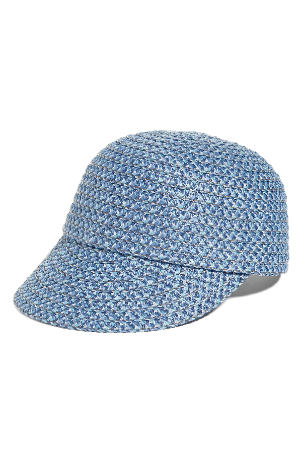 Eric Javits Mondo Woven Squishee Cap In Denim