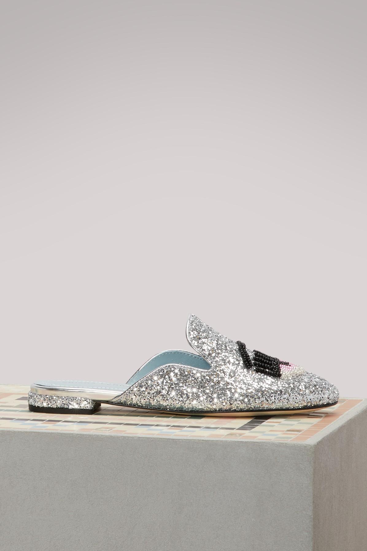 Chiara Ferragni Suite Life Flat In Silver Glitter