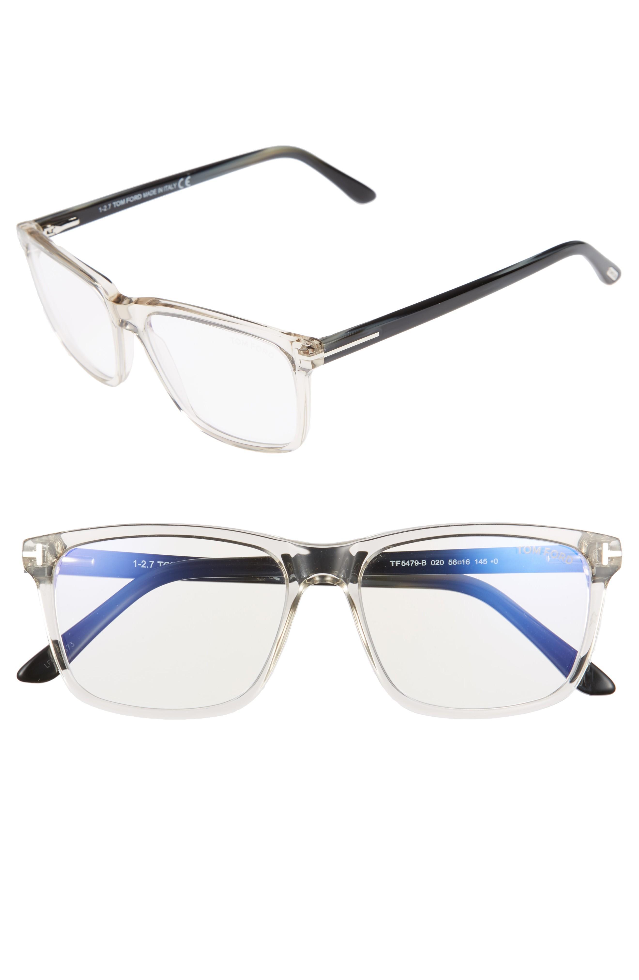 0af2aac83faa Tom Ford 56Mm Blue Block Optical Glasses - Grey  Striped Blue