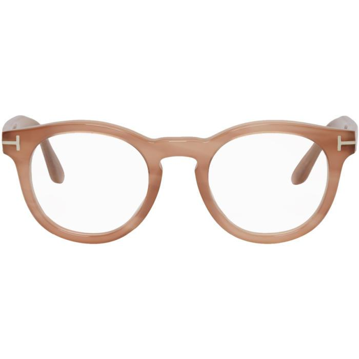 d03f77c34b0e Tom Ford 48Mm Round Optical Glasses - Striped Milky Pink