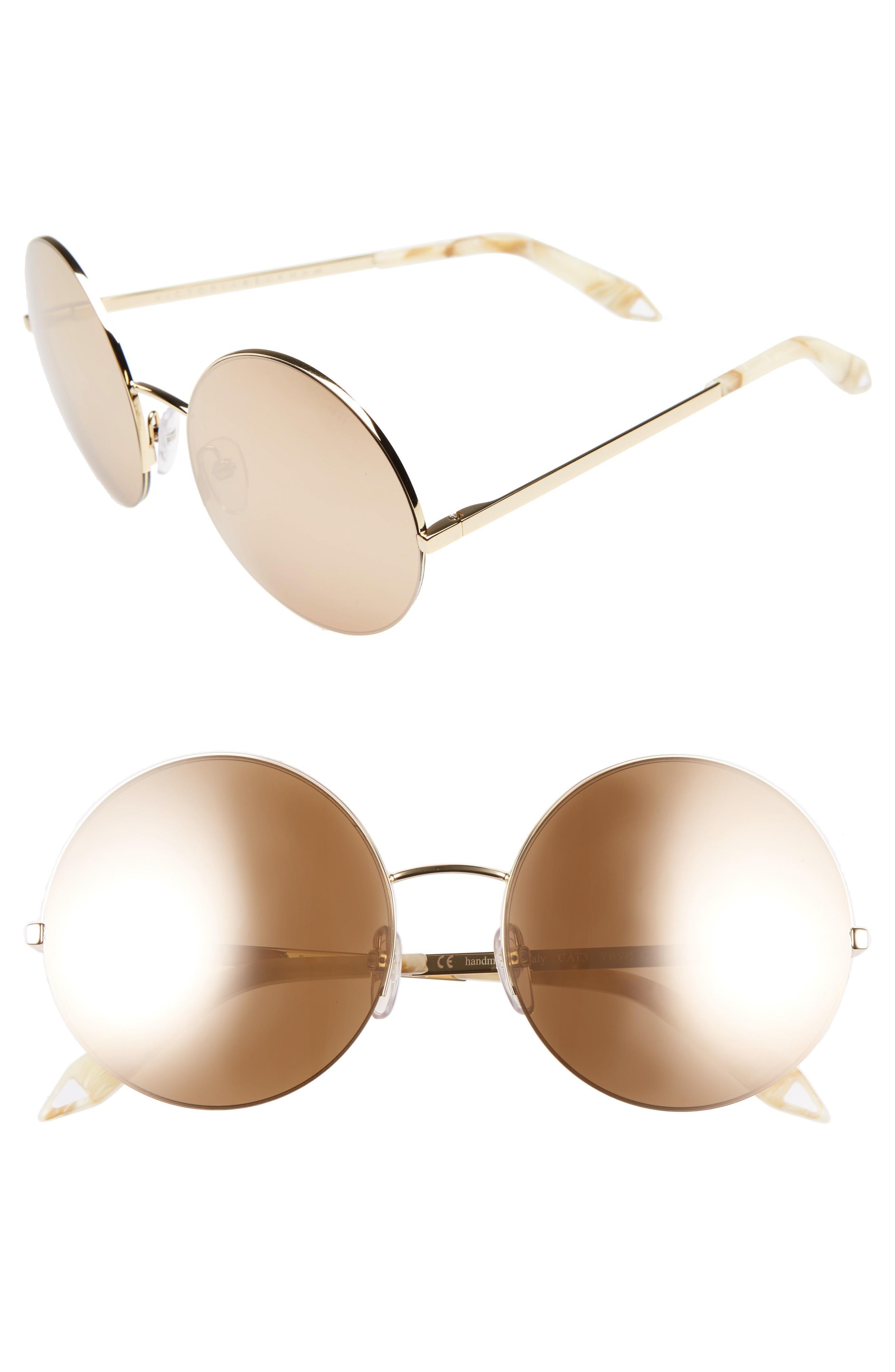 fd7c48ce8460 Victoria Beckham 56Mm Round Sunglasses - Gold Metallic  Gold Mirror ...