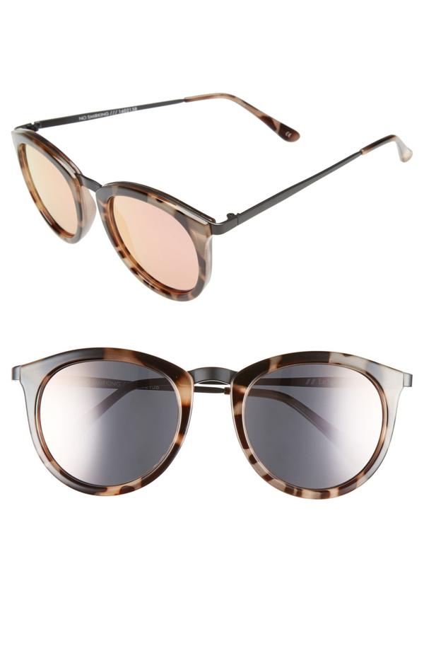 Le Specs 'no Smirking' 50mm Round Sunglasses In Volcanic Tortoise/ Black