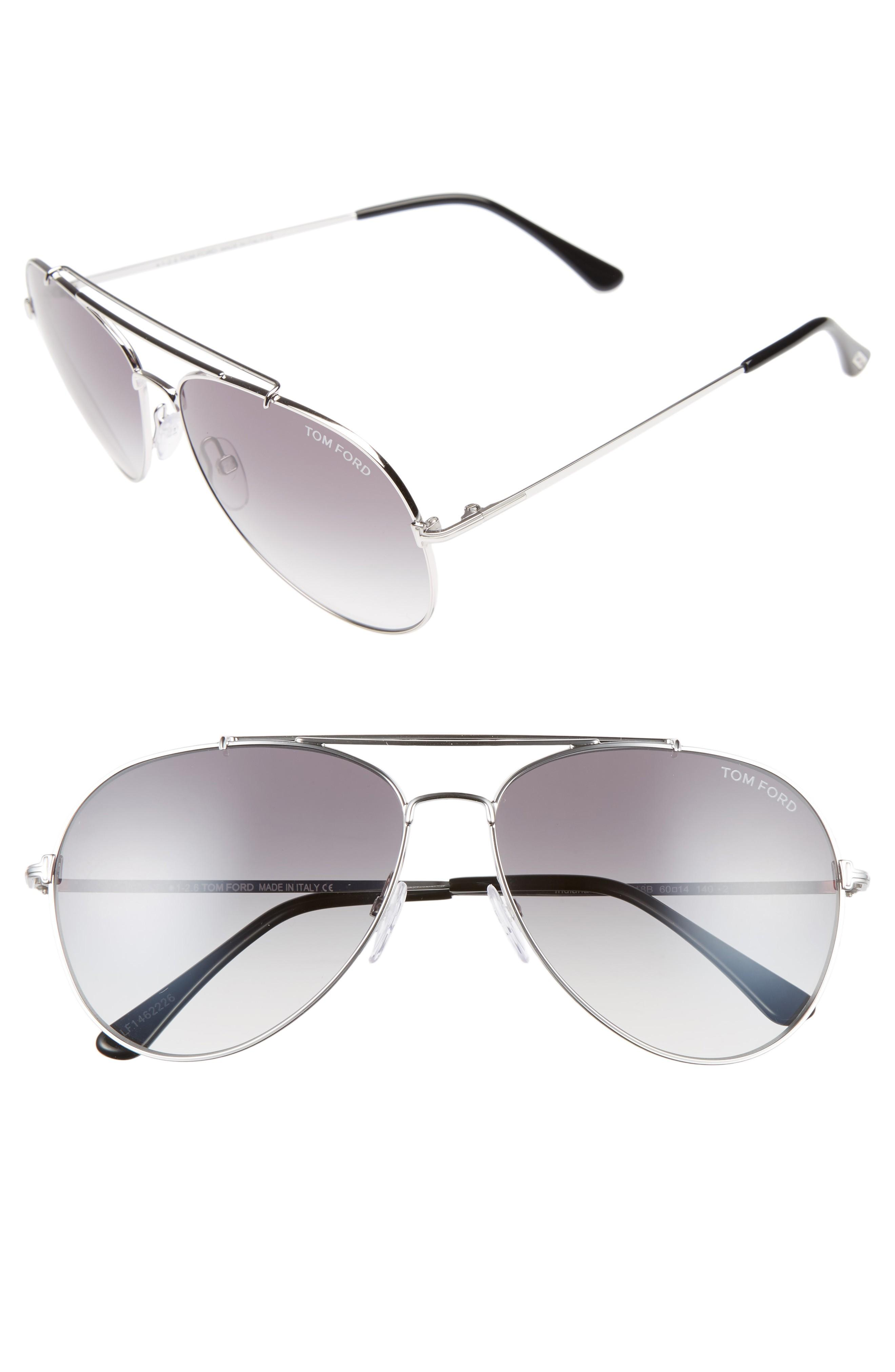 d5f63b0b2f34 Tom Ford Indiana 60Mm Aviator Sunglasses - Rhodium  Black  Gradient Smoke