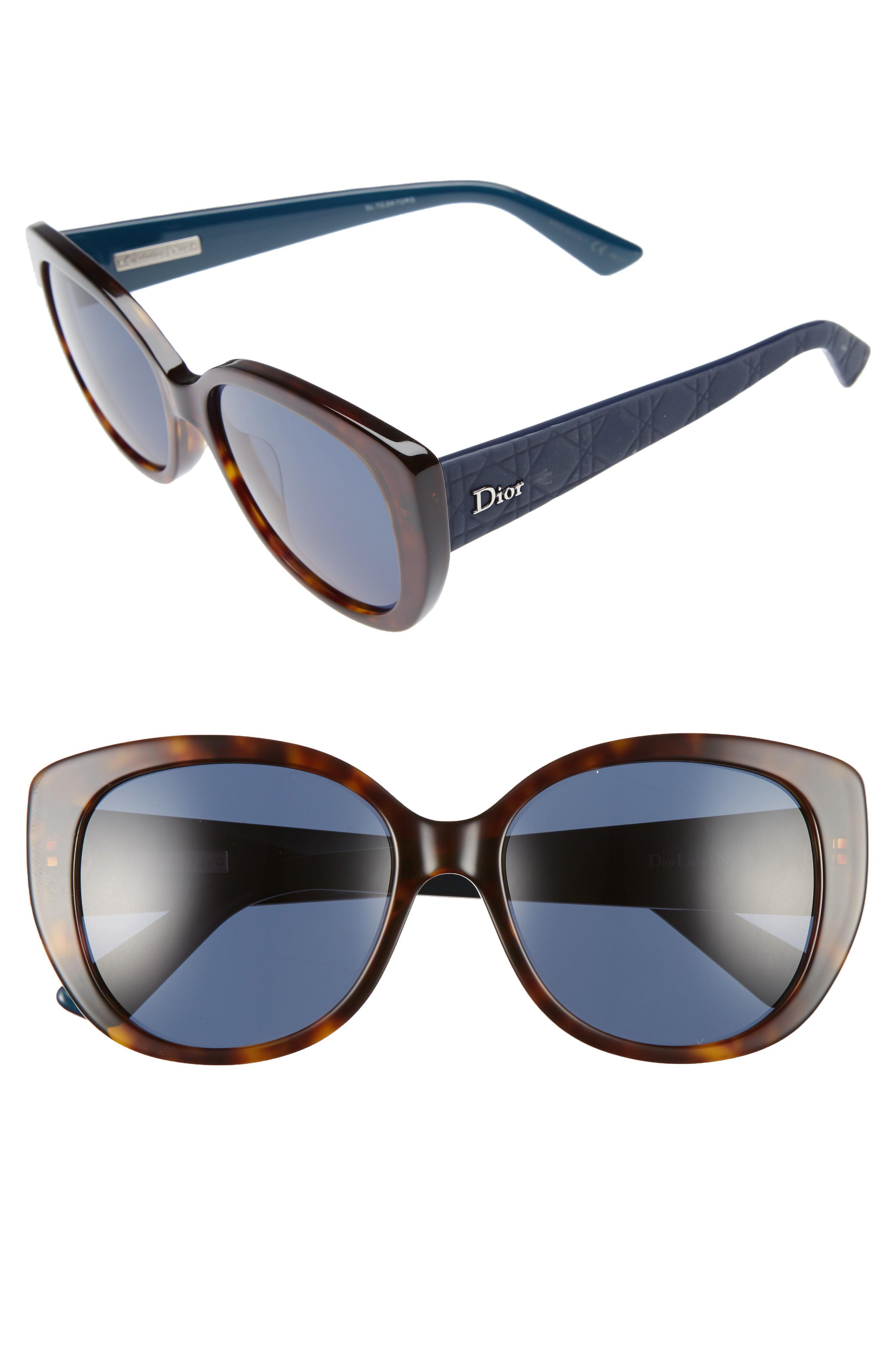 c17ece977949 Dior Lady 55Mm Cat Eye Sunglasses - Havana  Blue