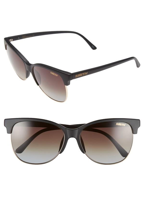 Smith 'rebel' 57mm Cat Eye Sunglasses In Matte Black/ Polarized Brown