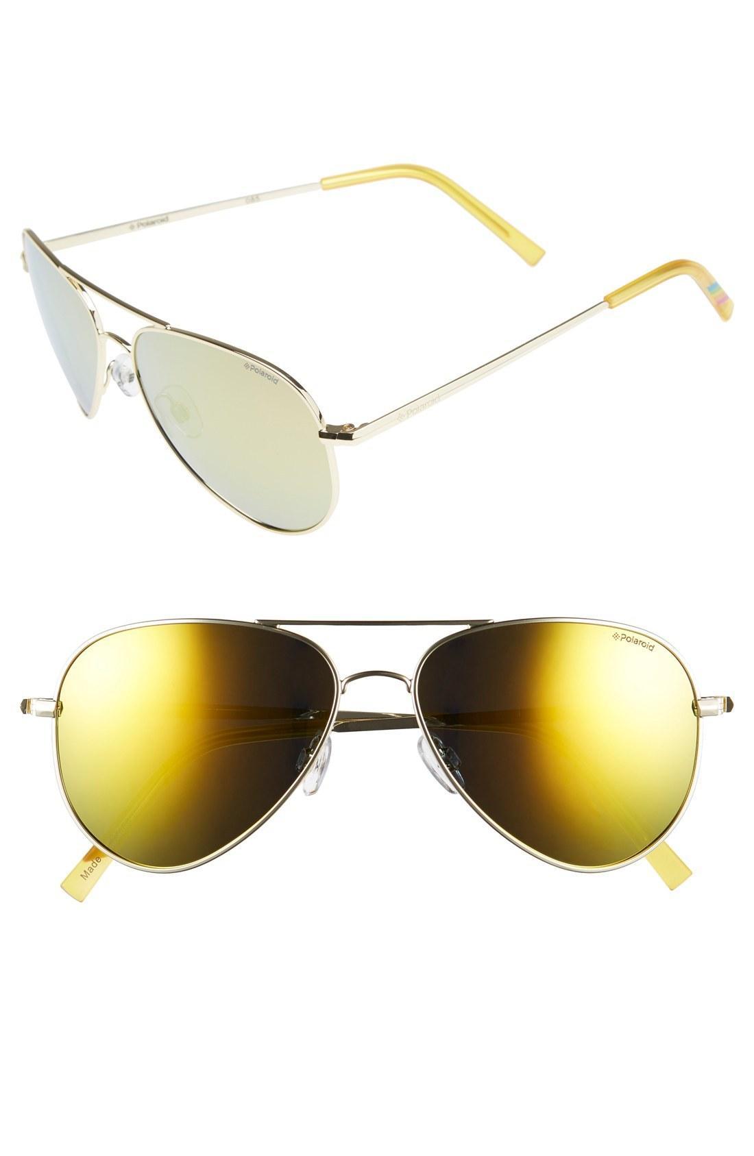 80a75b1ef6474 Polaroid 56Mm Polarized Aviator Sunglasses - Gold  Gold Mirror  Polarized