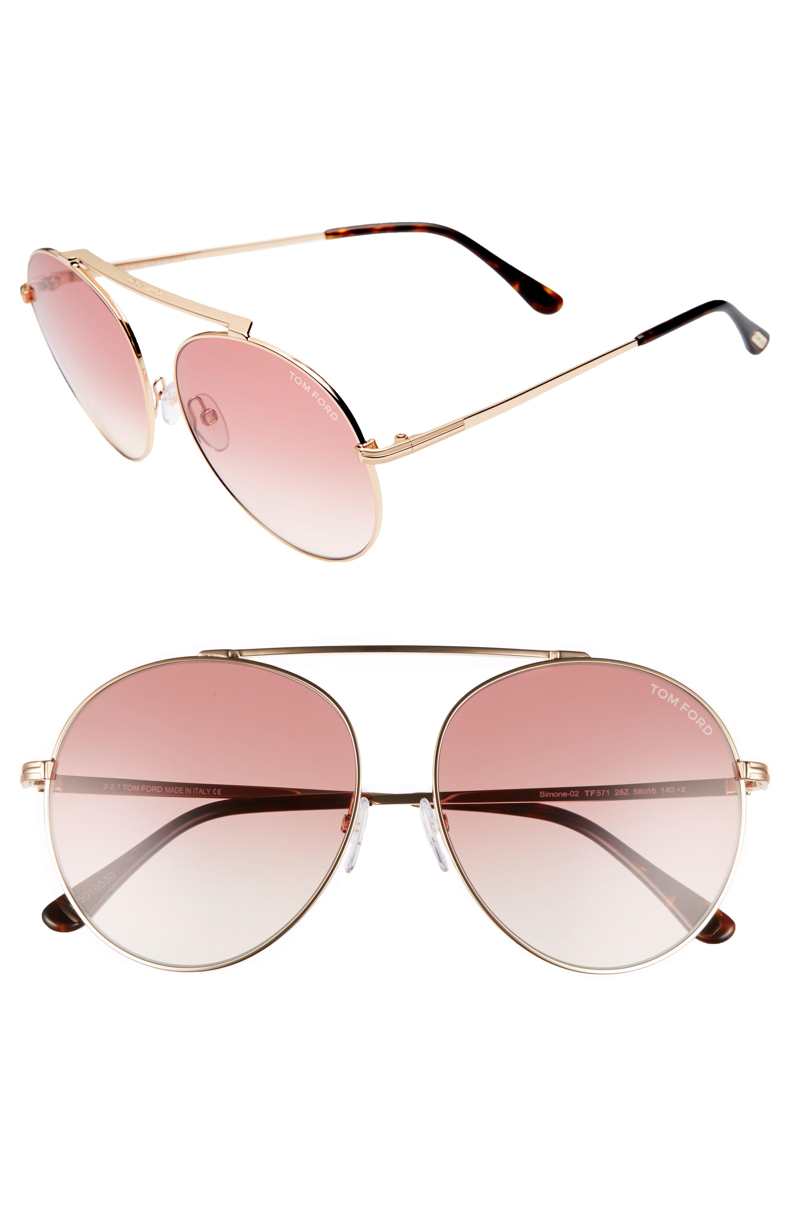 3adf33f13e102 Tom Ford Simone 58Mm Gradient Mirrored Round Sunglasses - Rose Gold  Rose   Sand