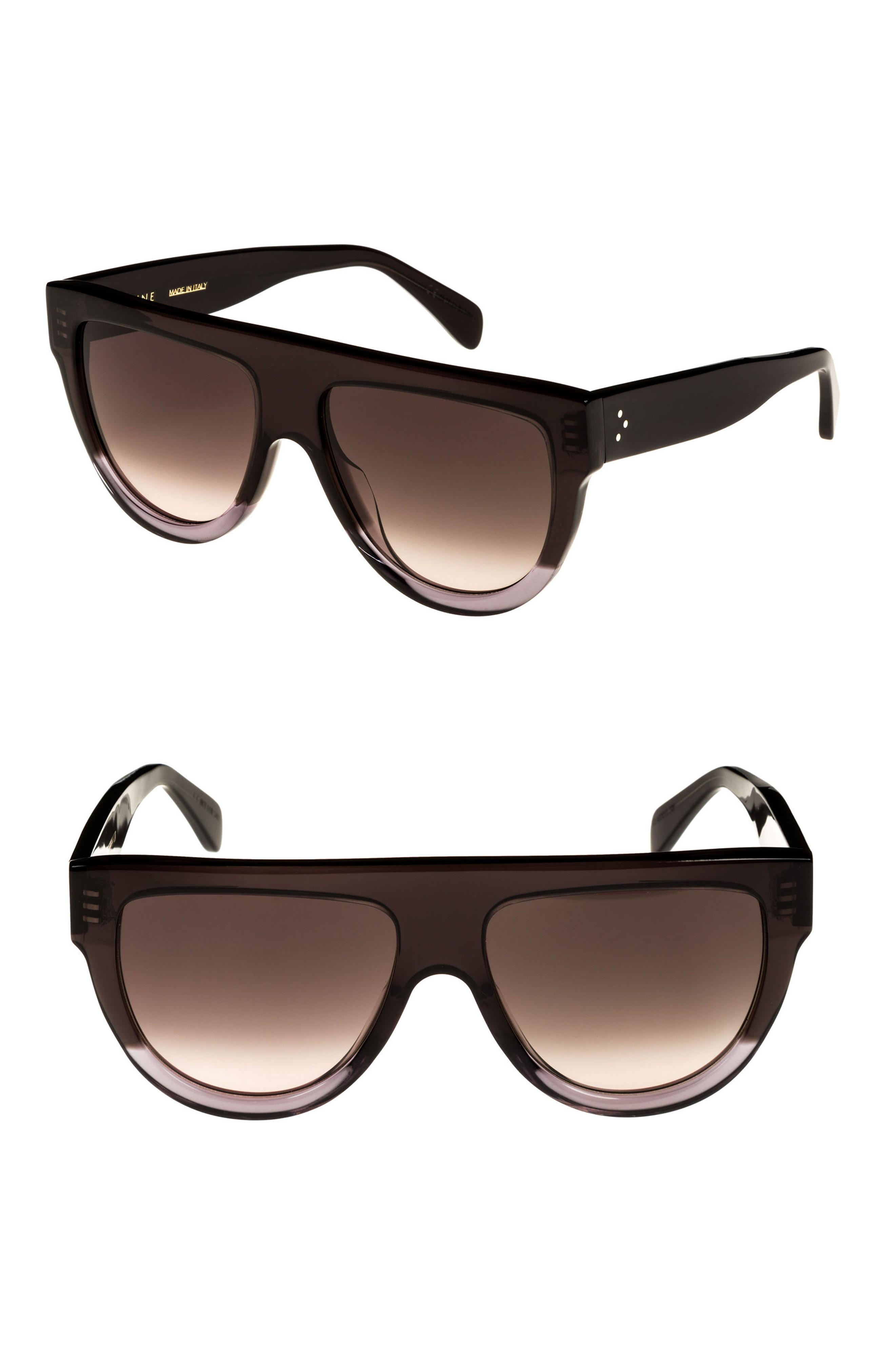236a5400905c Celine Special Fit 60Mm Flat Top Sunglasses - Dark Grey Brown