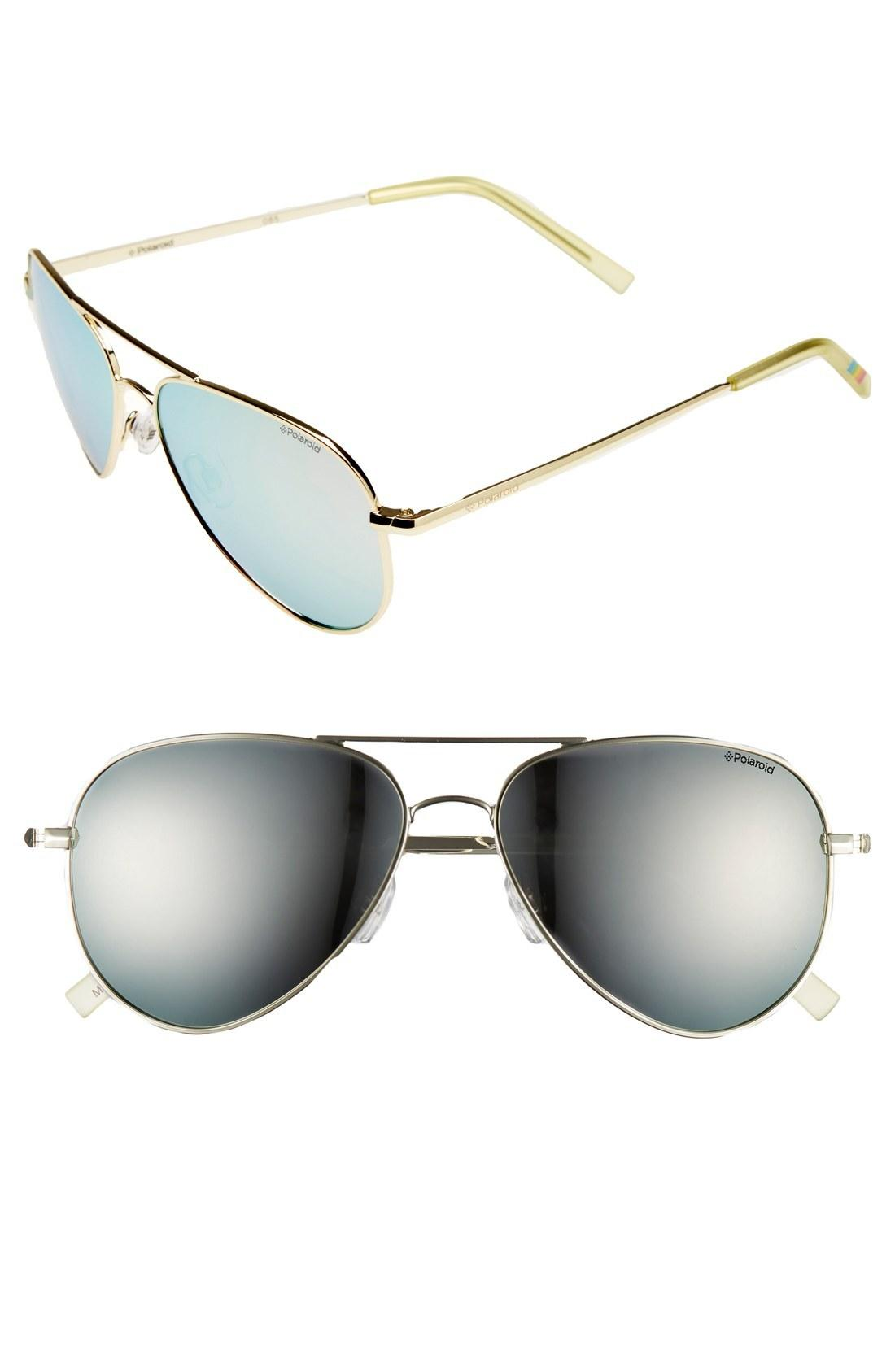 4bc4181d0 Polaroid 56Mm Polarized Aviator Sunglasses - Gold/ Silver Mirror/ Polarized