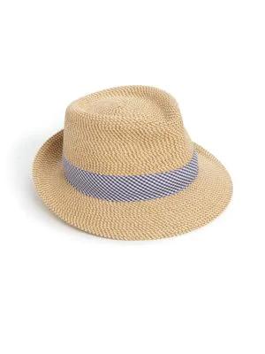 6c86d0d422e Eric Javits  Classic  Squishee Packable Fedora Sun Hat - Beige In Peanut   Blue