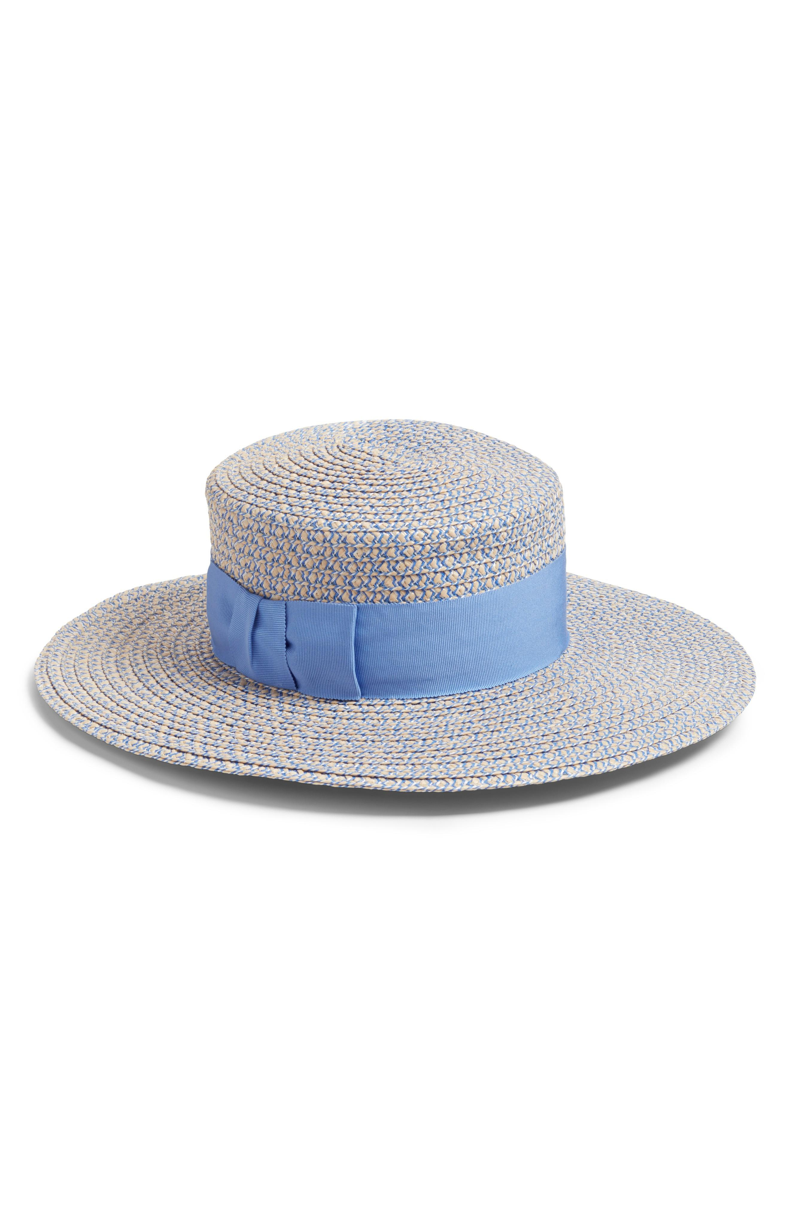 1a1076223a17b Eric Javits  Gondolier  Boater Hat - Blue In Cream  Blue Tweed ...