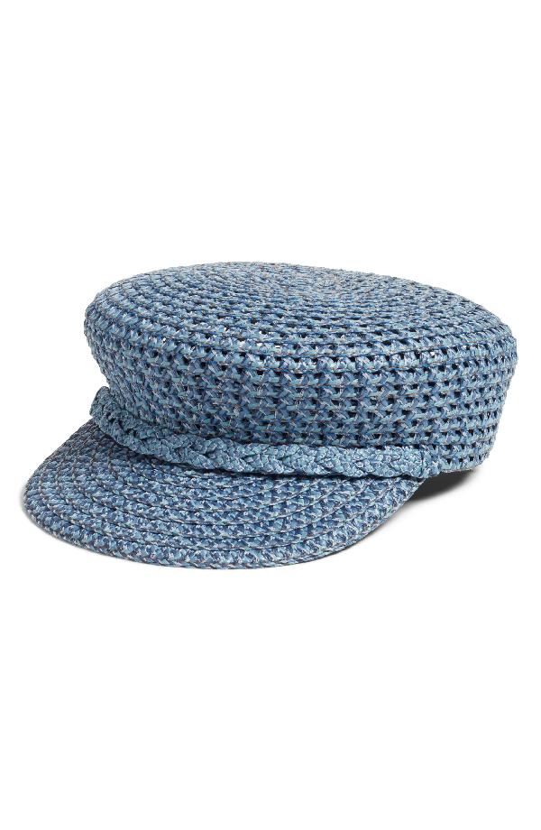 Eric Javits Capitan Woven Squishee Newsboy Hat In Denim