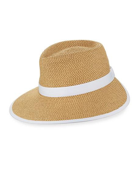 5ed7b0b6e8e A wide-brimmed fedora in a visor silhouette is made from Eric Javits   packable fabric and can be crumpled and crushed into luggage or a beach  tote.