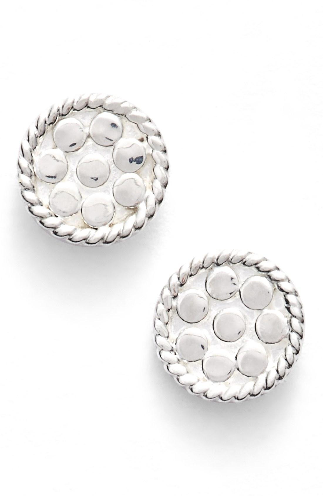 Anna Beck Mini Disc Stud Earrings In Silver