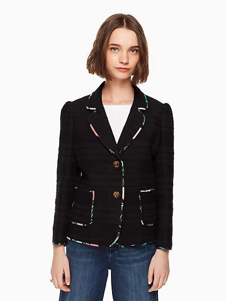 Kate Spade Blossom Trim Two-Button Tweed Jacket In Black